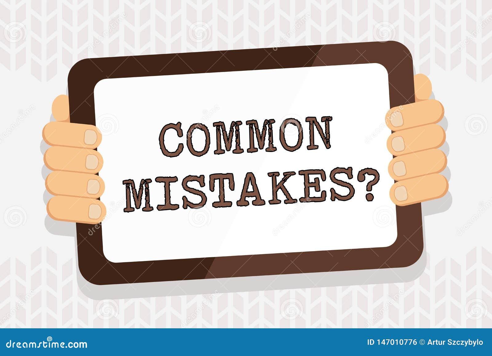 Texto da escrita que escreve a pergunta dos erros comuns E