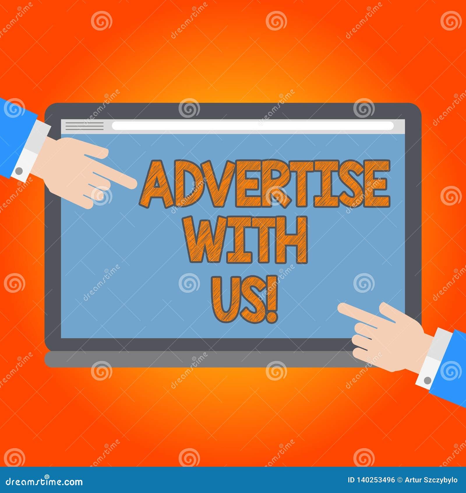 Texto de la escritura hacer publicidad con nosotros El márketing del significado del concepto hace servicio del producto sabido e