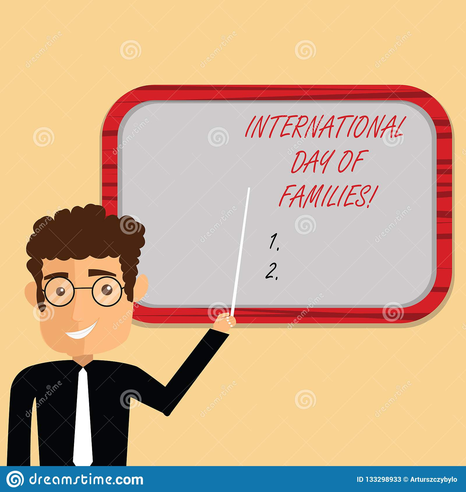 Texto de la escritura que escribe el día internacional de familias Tenencia de la situación del hombre de la celebración de la un