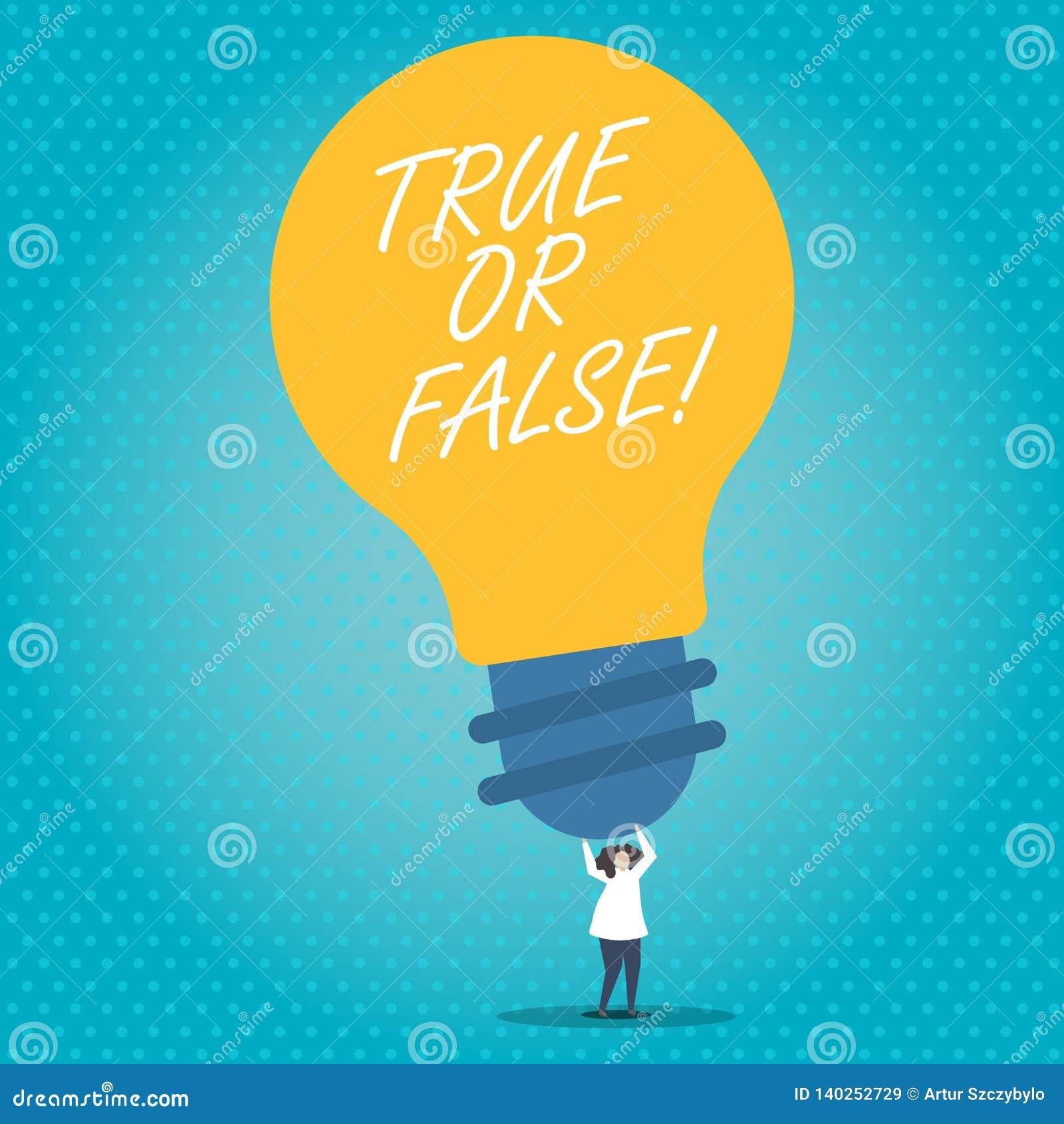 Texto de la escritura verdad o falso El significado del concepto decide entre un hecho o decir una confusión de la duda de la men