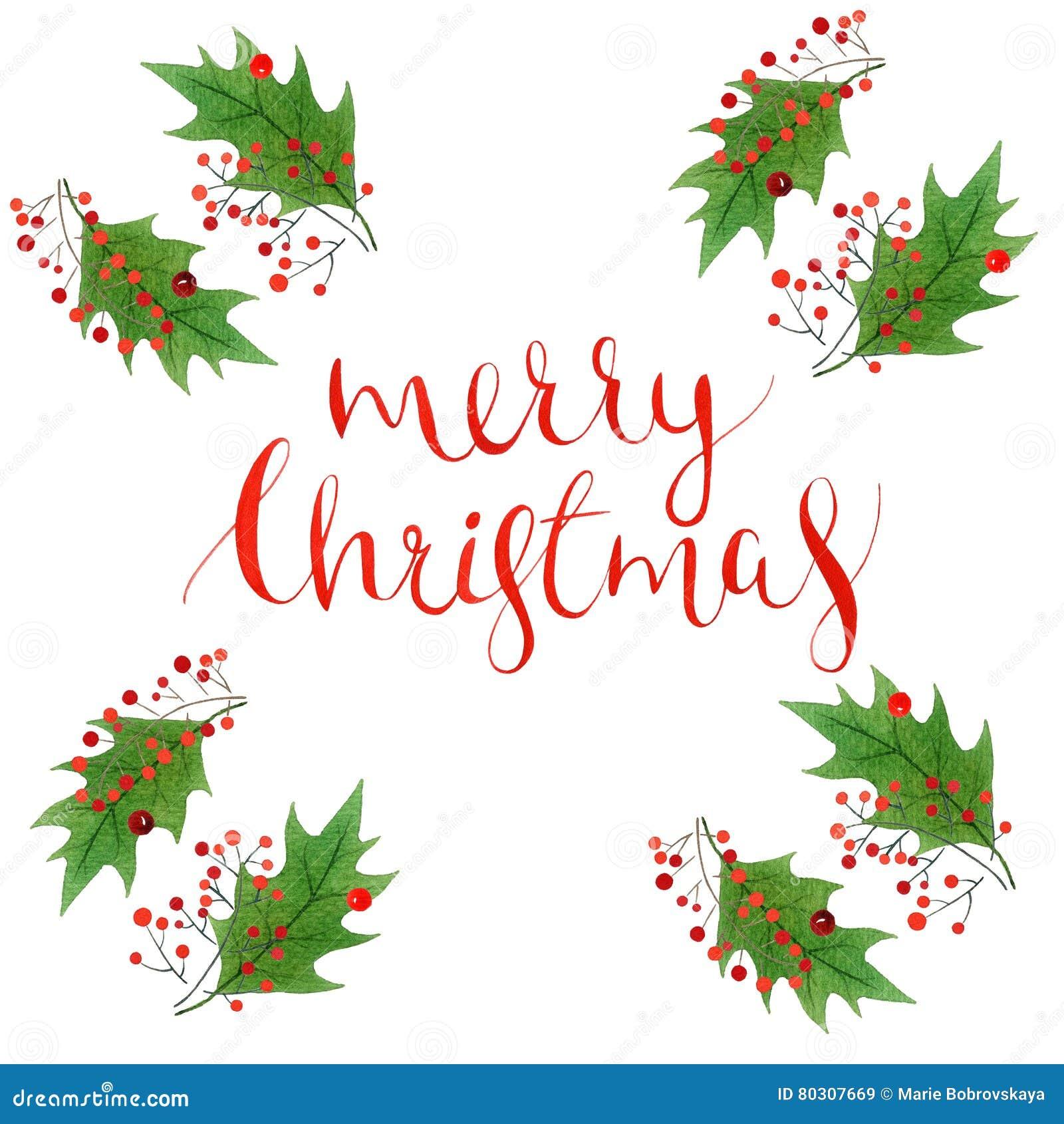Texto De La Feliz Navidad Con Las Hojas Del Acebo De La Acuarela Y ...