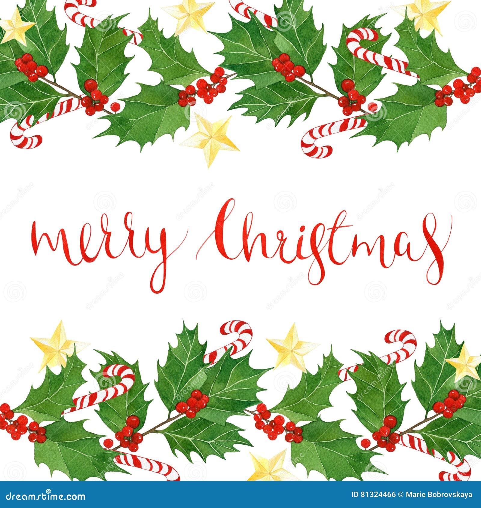 Texto De La Feliz Navidad Con Las Hojas Y Las Bayas Del Acebo De La ...