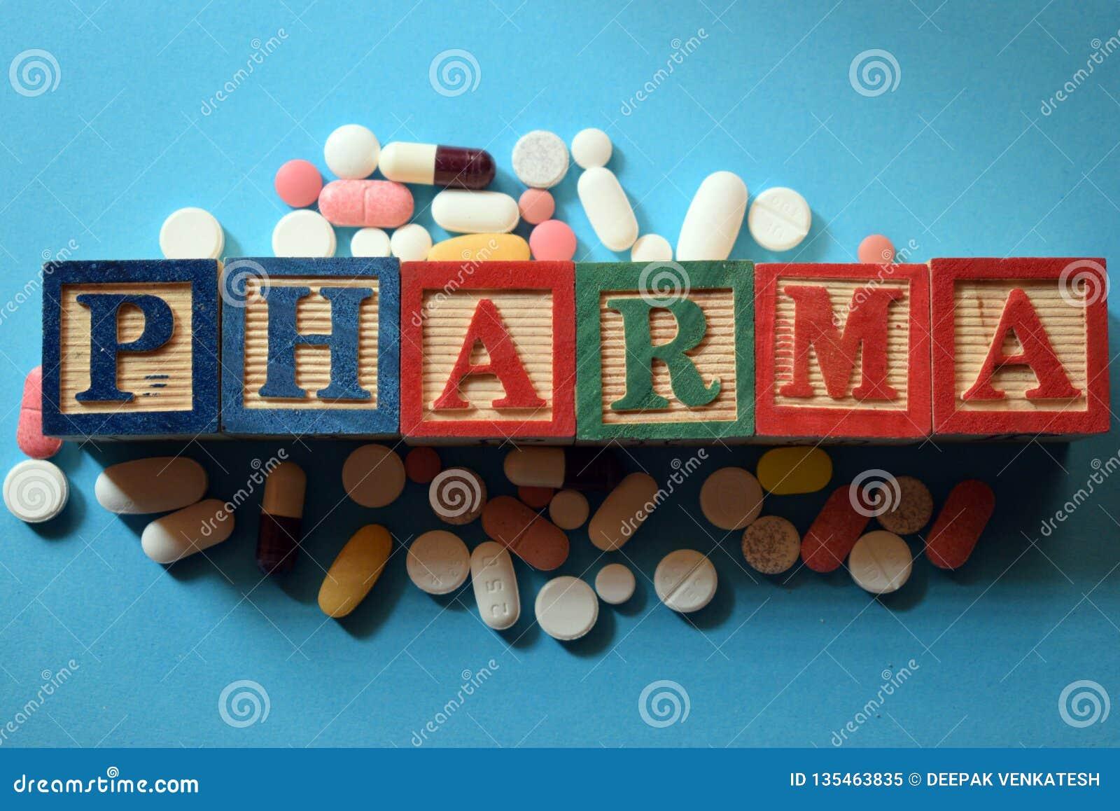 Texto de Pharma no bloco de madeira