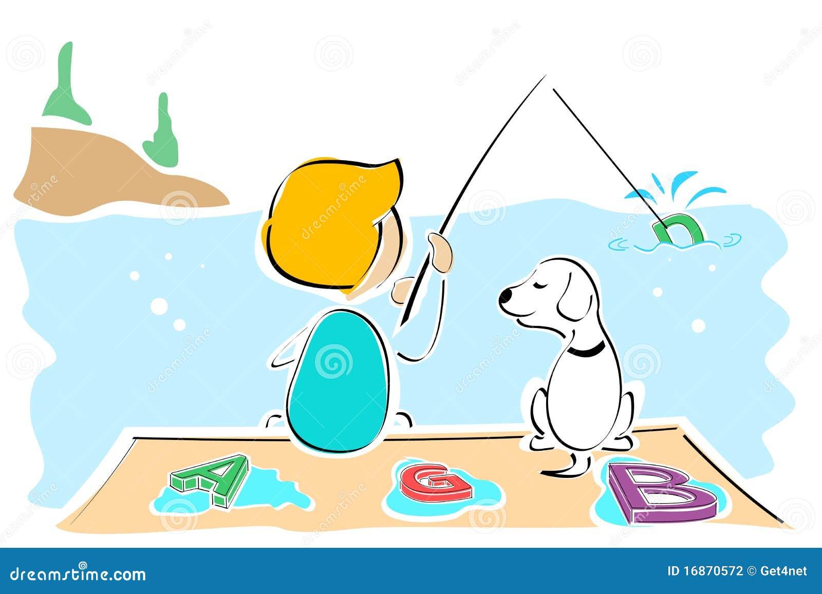 Texto de travamento do menino e do cão