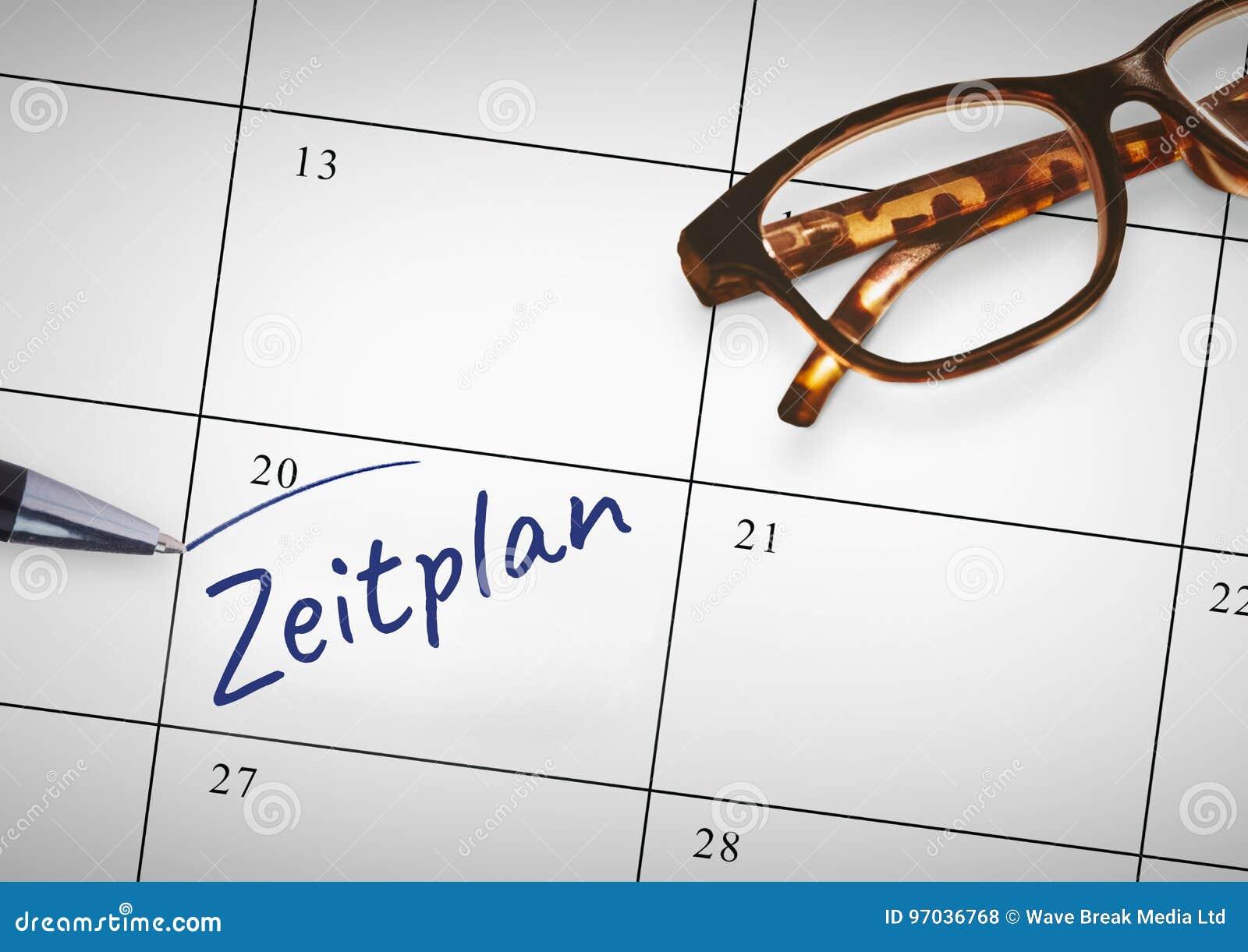Texto de Zeitplan escrito no calendário com marcador