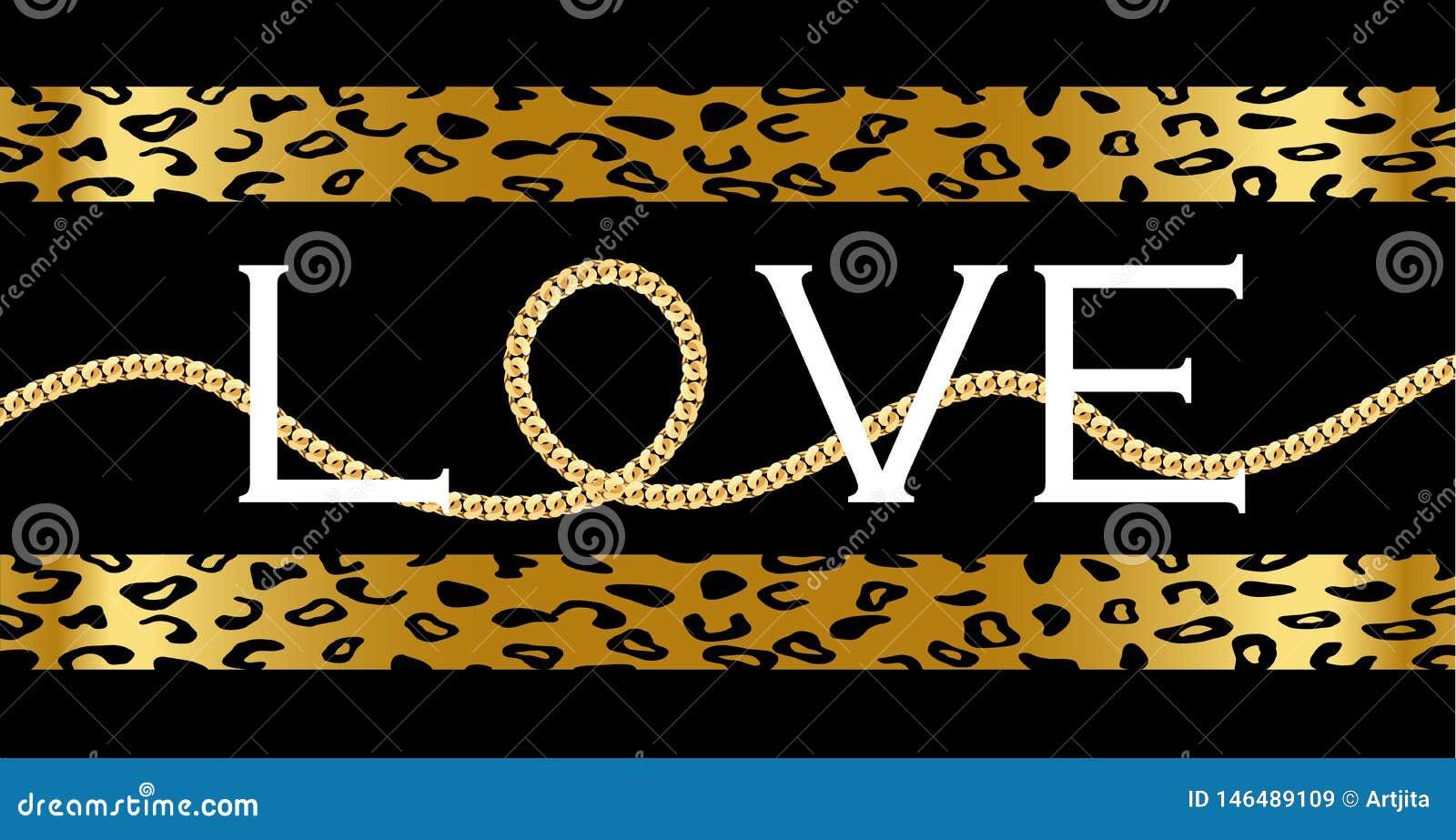 Texto decorativo 'do amor 'com com a corrente dourada no leopardo