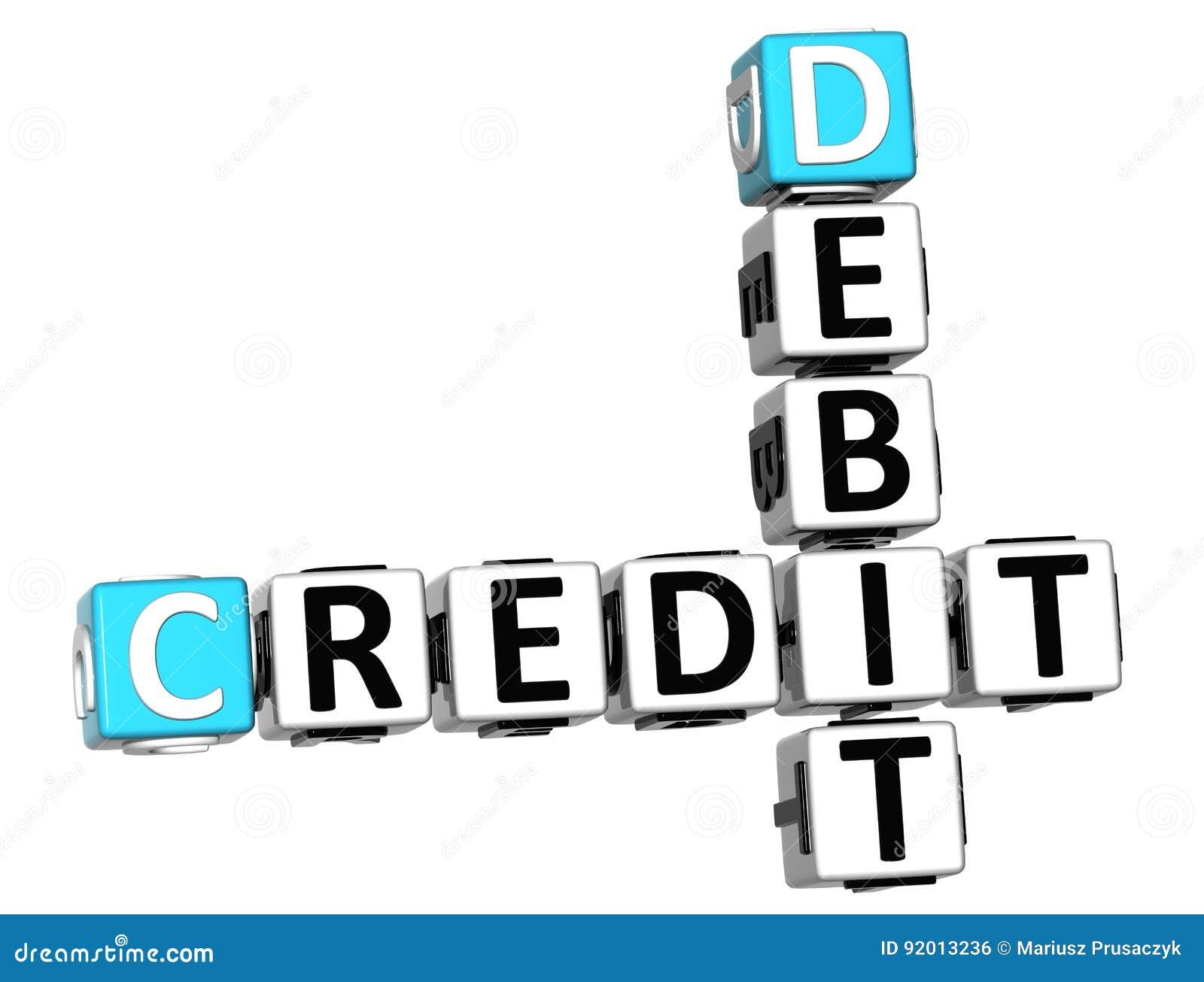 Texto del crucigrama del debe del crédito 3D