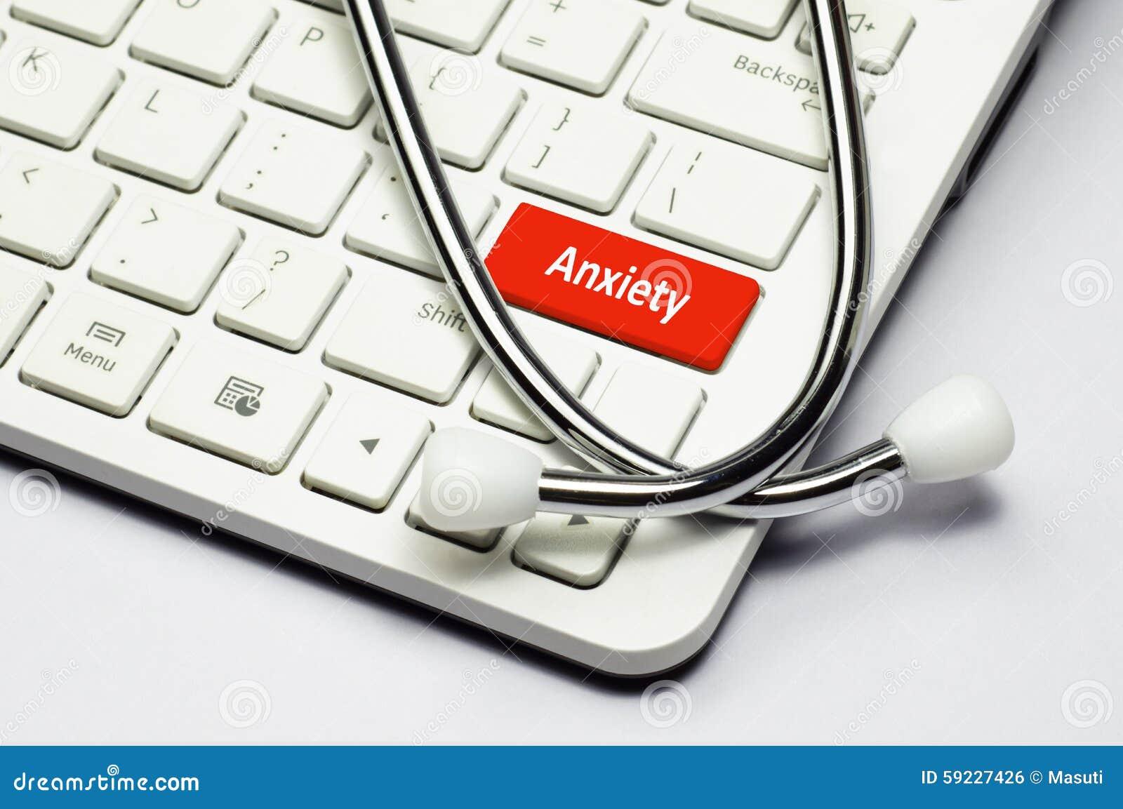 Texto del teclado, de la ansiedad y estetoscopio