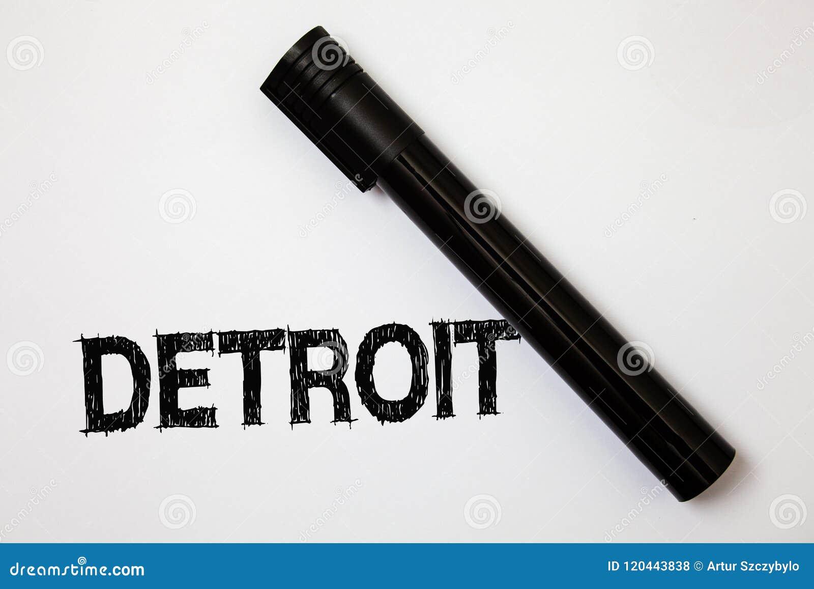 Texto Detroit da escrita da palavra Conceito do negócio para a cidade na capital do Estados Unidos da América do whi das mensagen