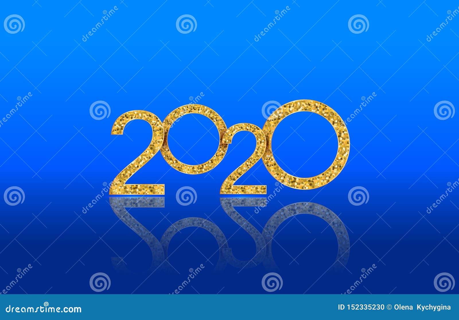 Texto 2020 do ano novo feliz com números dourados luxuosos isolado no fundo lustroso azul