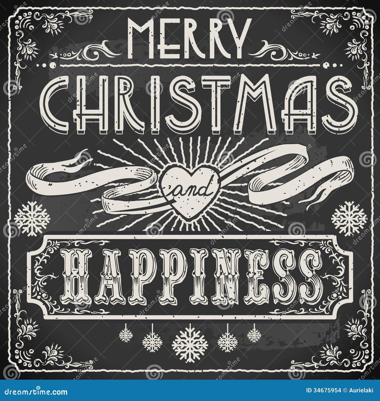 Texto do Feliz Natal do vintage em um quadro-negro