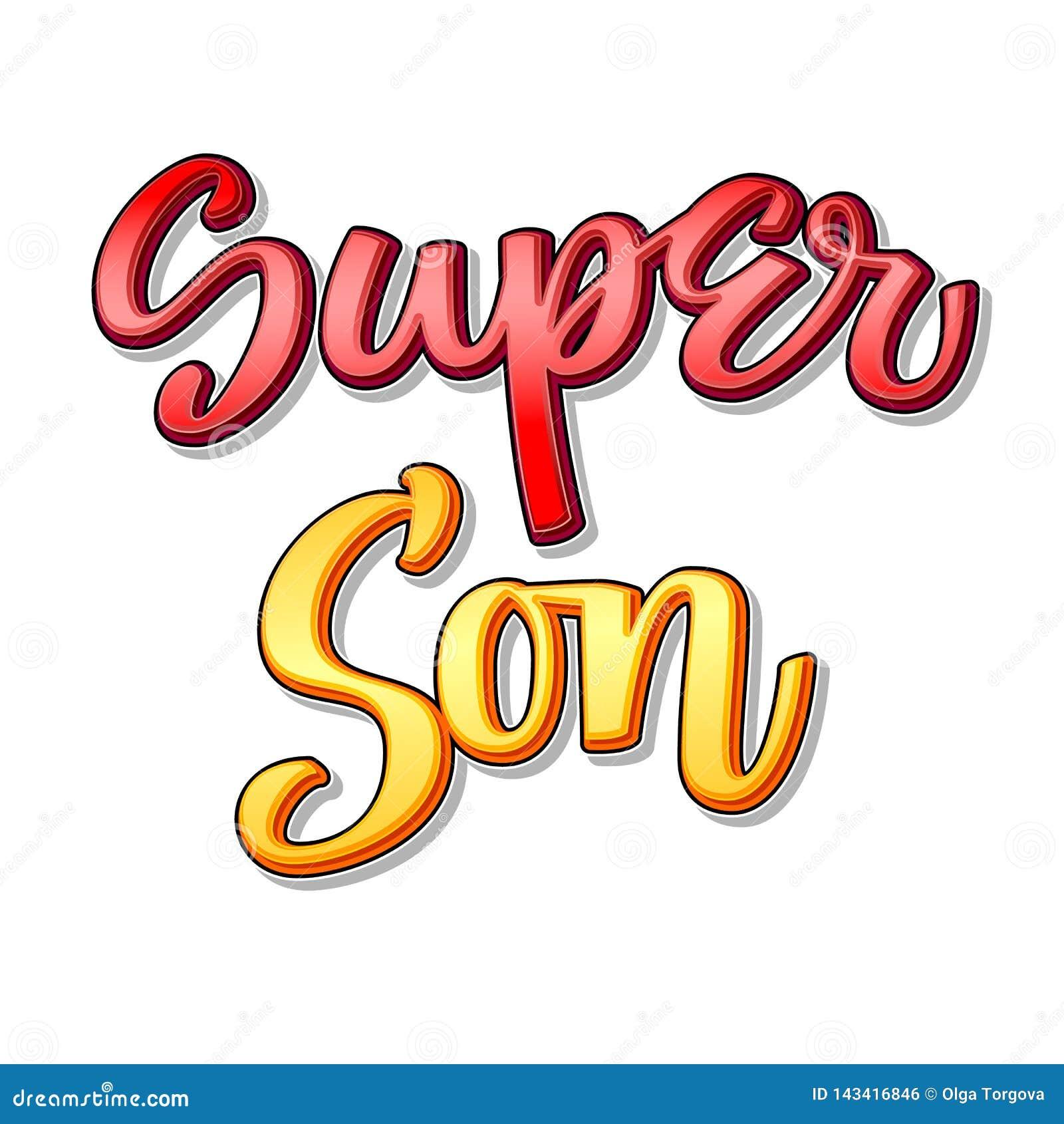 Texto estupendo de la familia - caligrafía estupenda del color del hijo