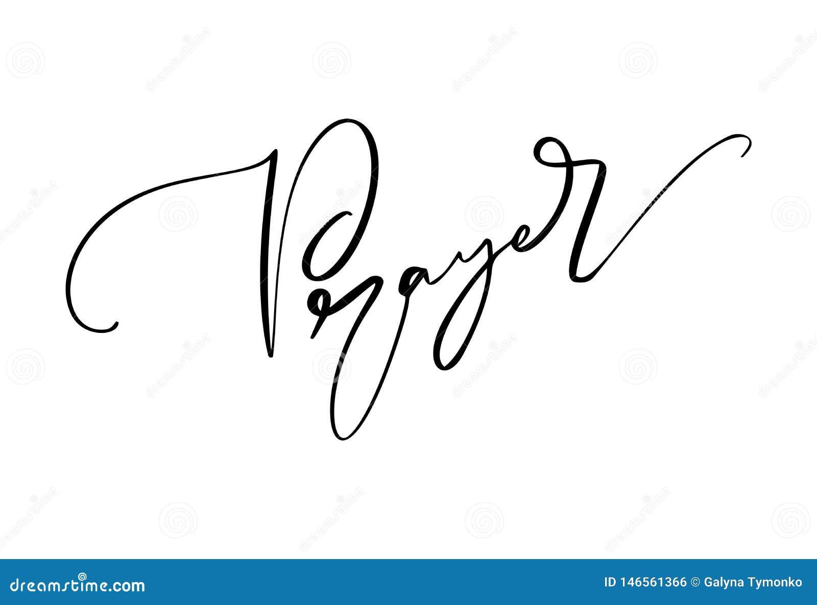 Texto exhausto del rezo de la caligrafía de la mano Letras cristianas de la tipografía, diseño de dibujo para la bandera, cartel,