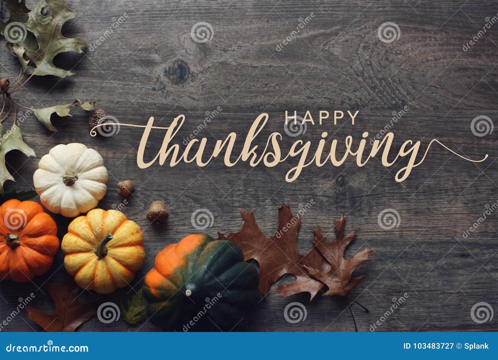 Texto feliz del saludo de la acción de gracias con las calabazas, la calabaza y las hojas sobre fondo de madera oscuro