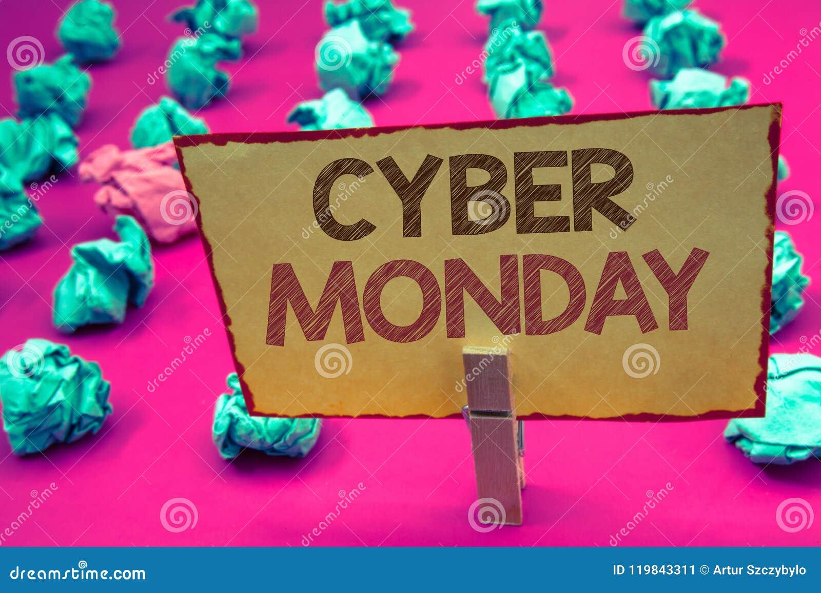 Texto lunes cibernético de la escritura de la palabra Concepto del negocio para las ventas especiales después del comercio electr