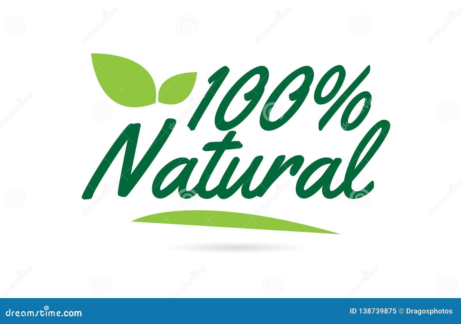 Texto natural verde de la palabra escrita de la mano de la hoja el 100  para el diseño del logotipo de la tipografía