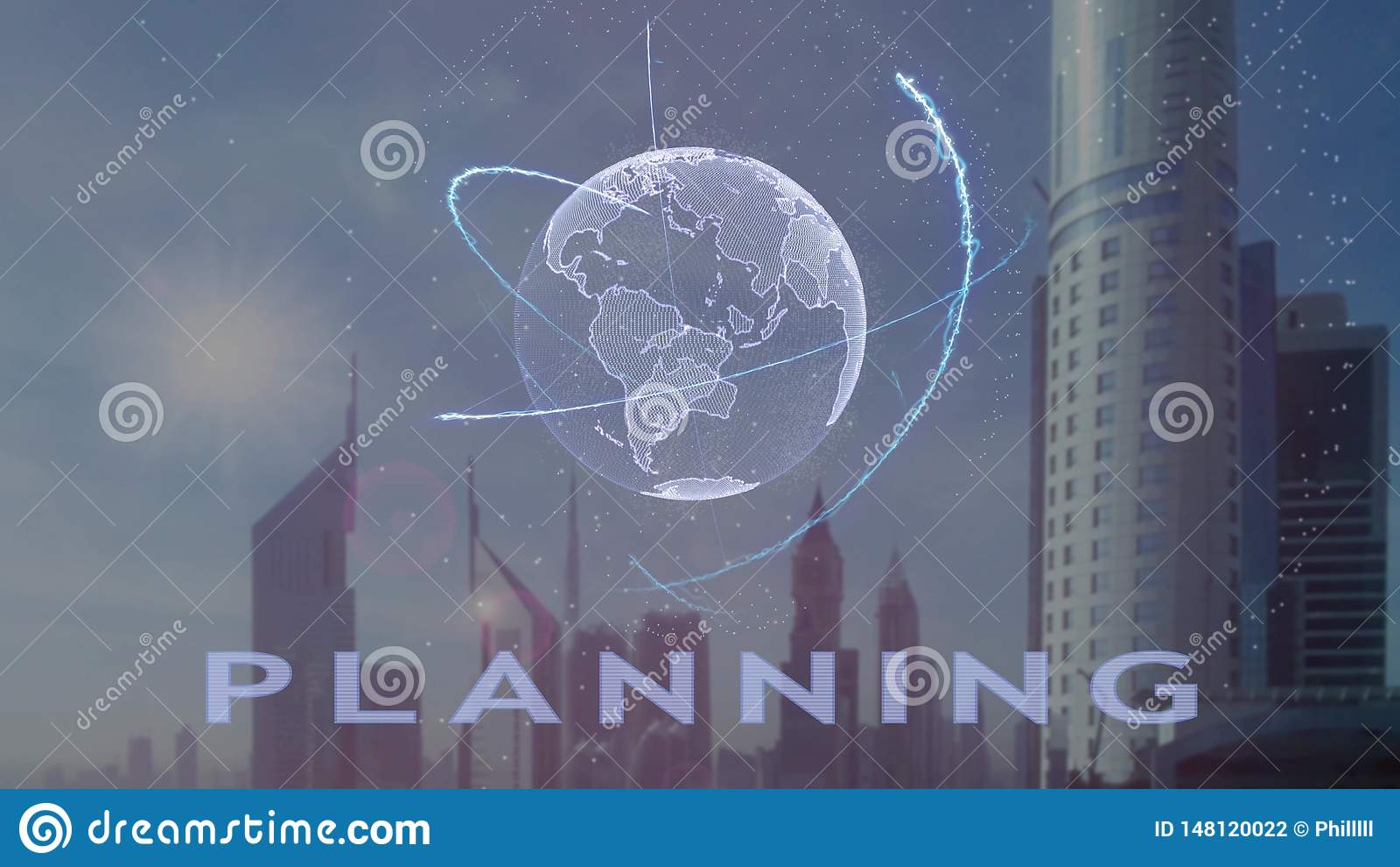 Texto planejando com holograma 3d da terra do planeta contra o contexto da metr?pole moderna