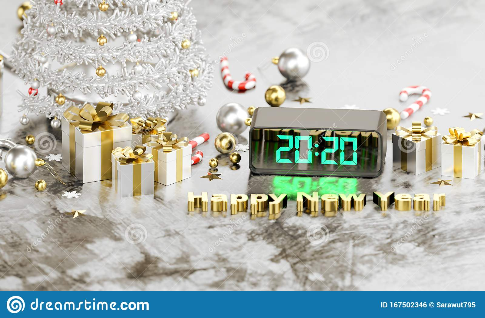 Merry Christmas Themes 2020 2020 Texts In Digital Clock LED Light Happy New Years Stock