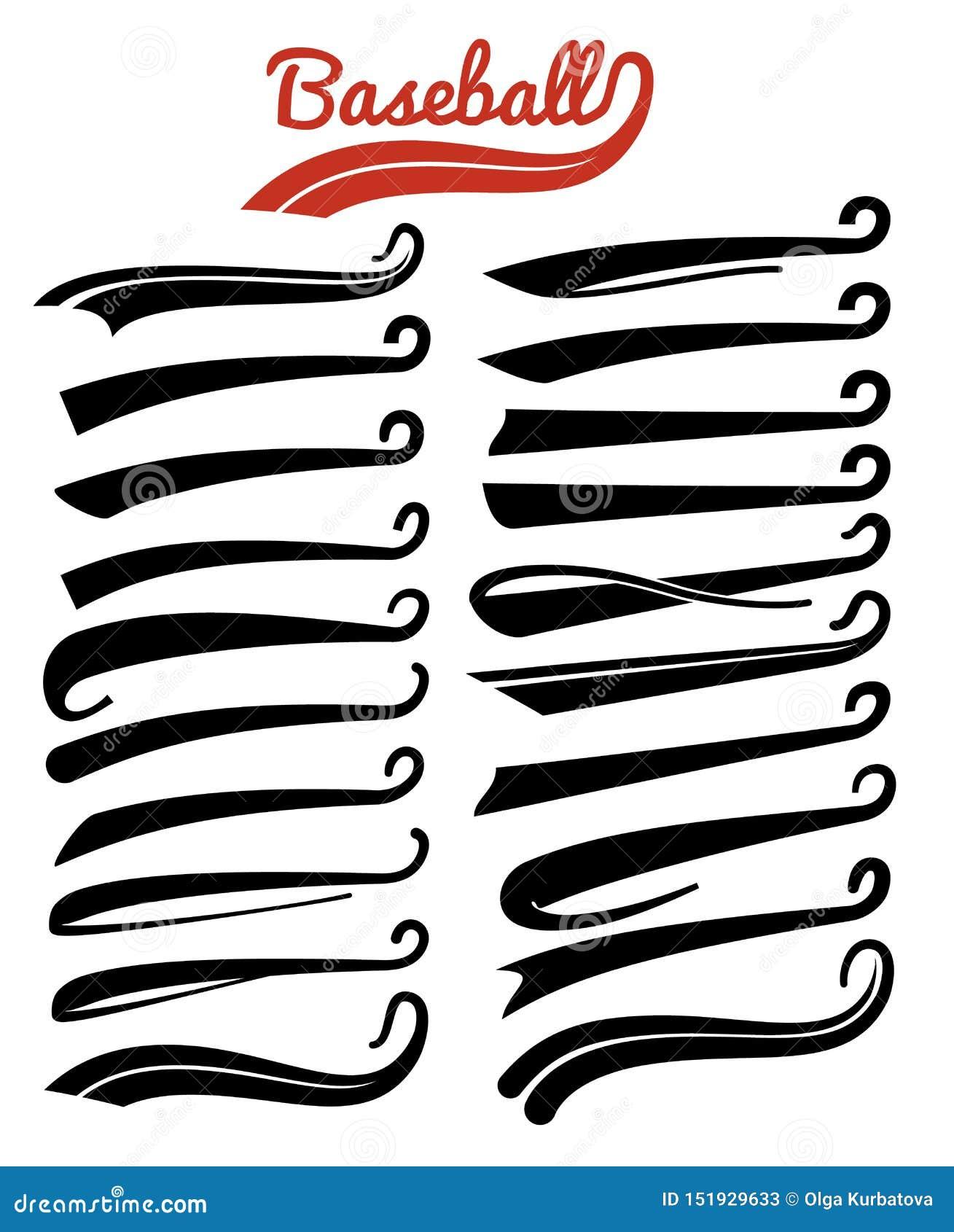 Textswooshes Typografi vinar svansar för tecken för fotboll- eller baseballsportlag Den smsande retro svansen understryker design