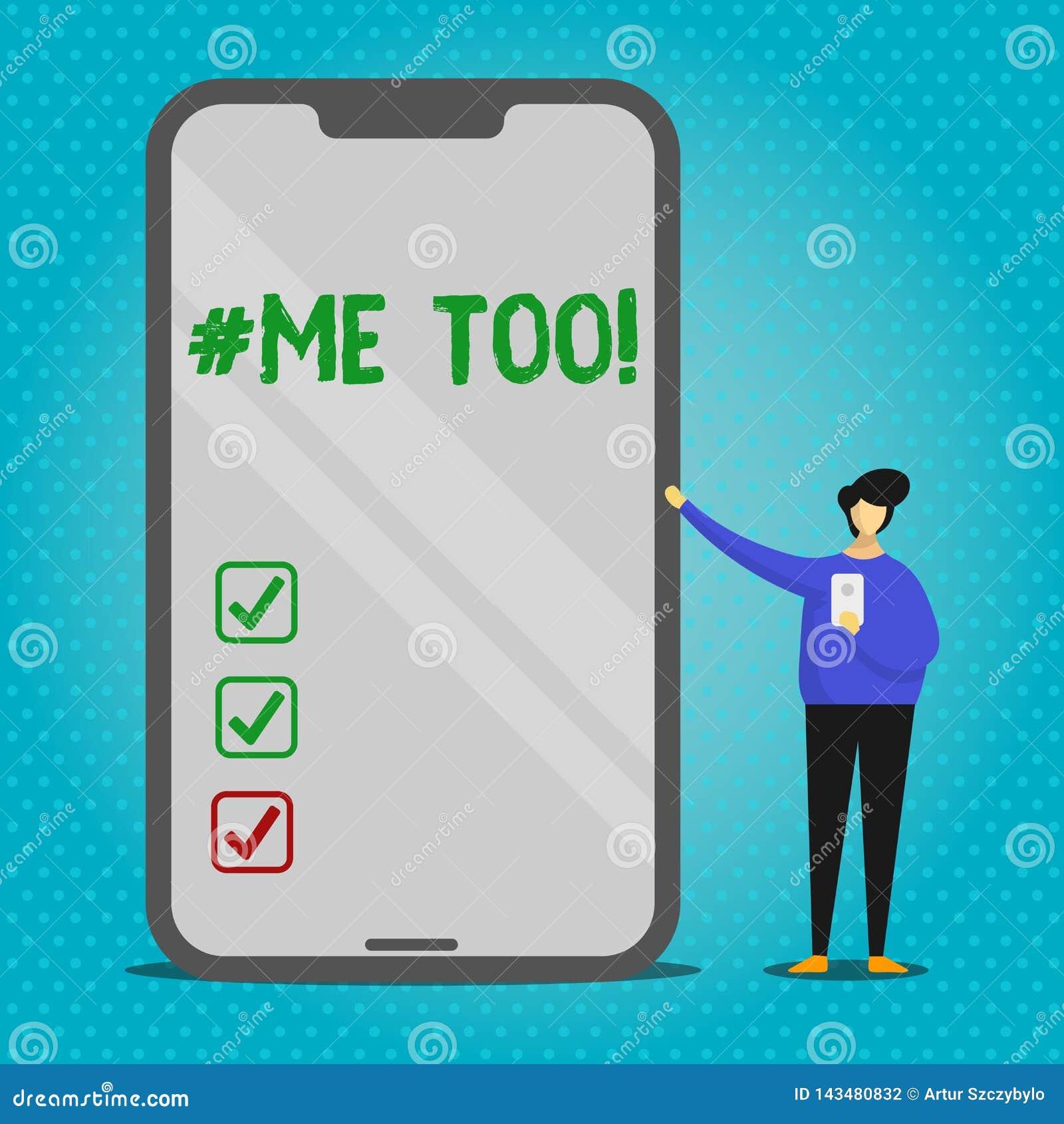 Texttecken som f?r visar Hashtagme Det begreppsmässiga fotoet växer starkt och modigt nog för att anmäla missbruk, mobbning, anfa