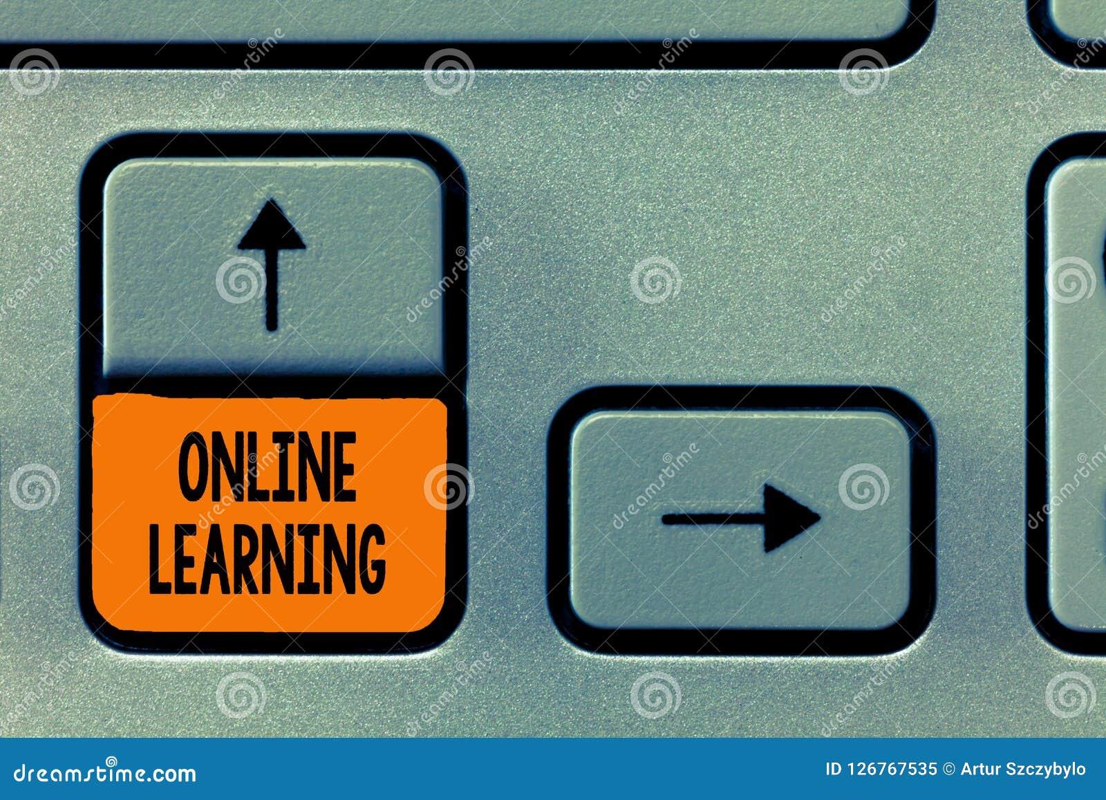 Texttecken som visar direktanslutet att lära Begreppsmässigt foto Larning med hjälpen av internet och en dator