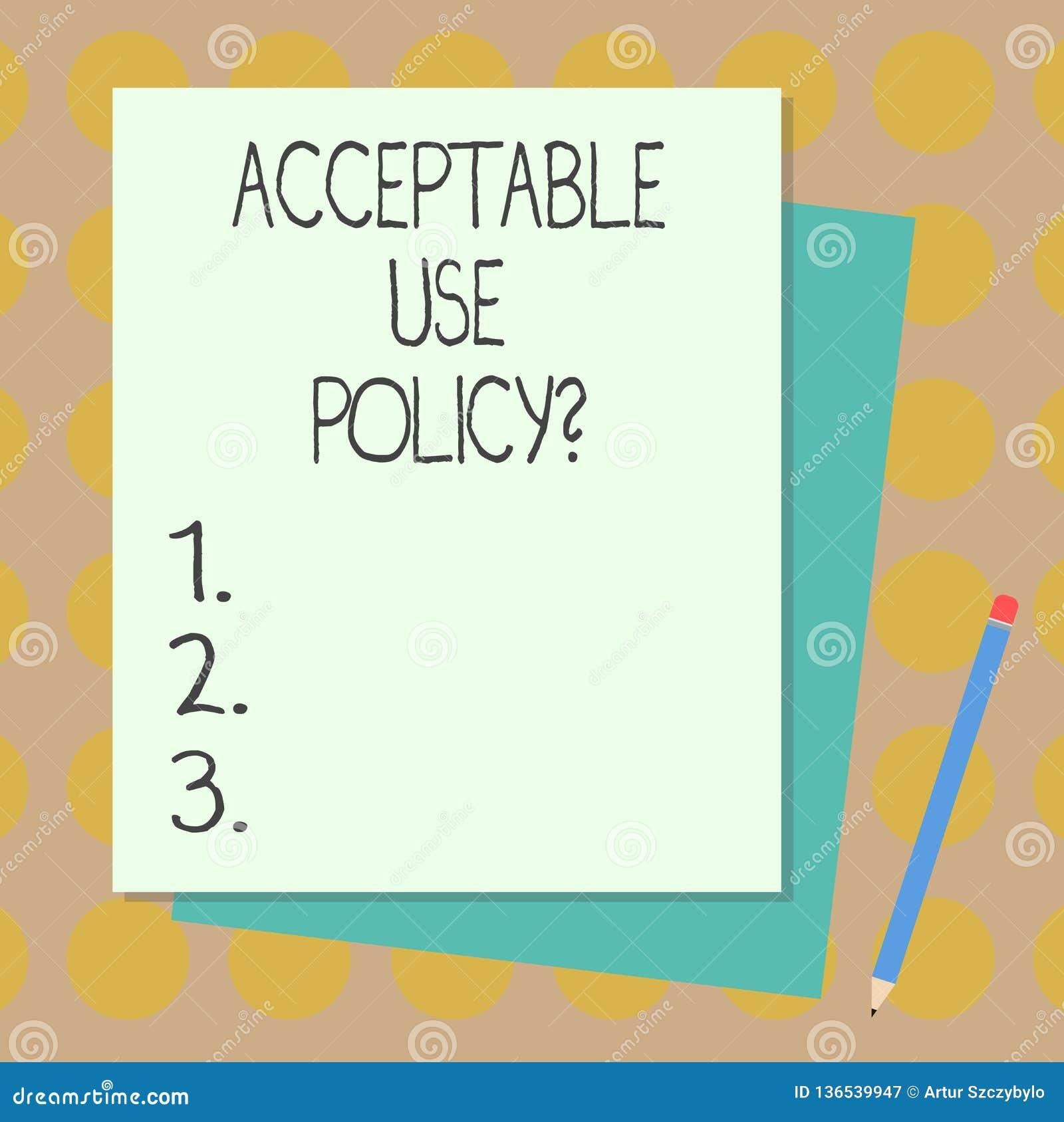 Texttecken som visar godtagbart bruk Policyquestion Begreppsmässig fotouppsättning av regler som appliceras av ägaren av en nätve