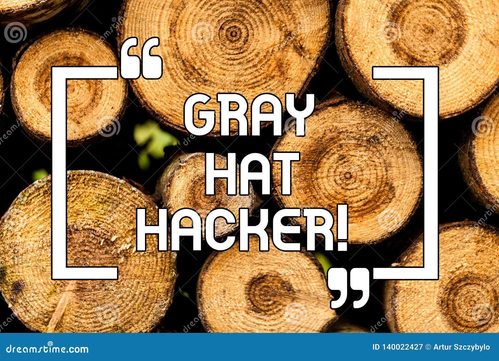 Texttecken som visar Gray Hat Hacker Begreppsmässig expert för fotodatorsäkerhet som kan ibland överträda trälagar