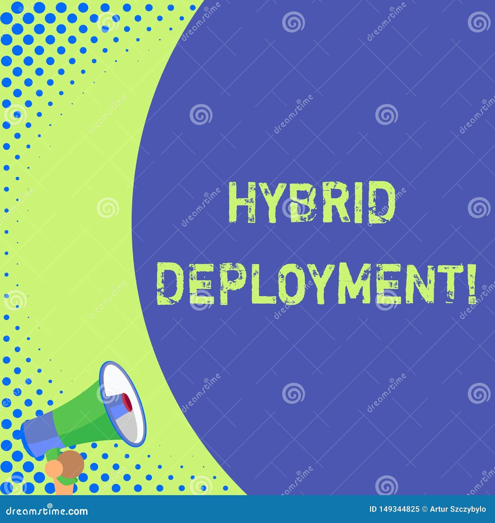 Texttecken som visar hybrid- utplacering Begreppsm?ssigt foto en kombination av onpremisesapplikationer eller det halva delmellan