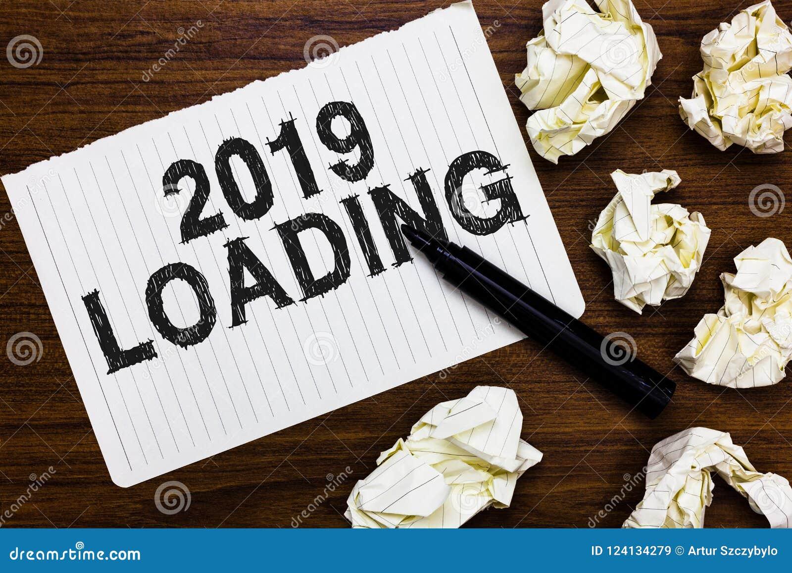 Texttecken som visar päfyllning 2019 Begreppsmässigt foto som annonserar det kommande året som förutser den framtida händelsemark