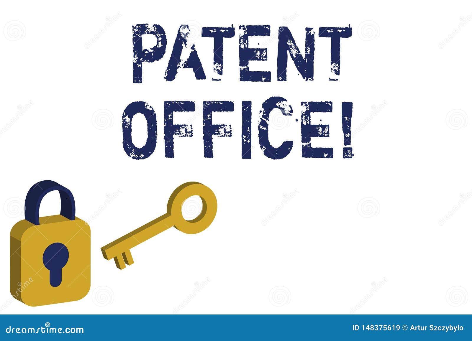 Texttecken som visar patentkontoret Begreppsmässigt foto ett kansli som gör beslut om att ge patentguling