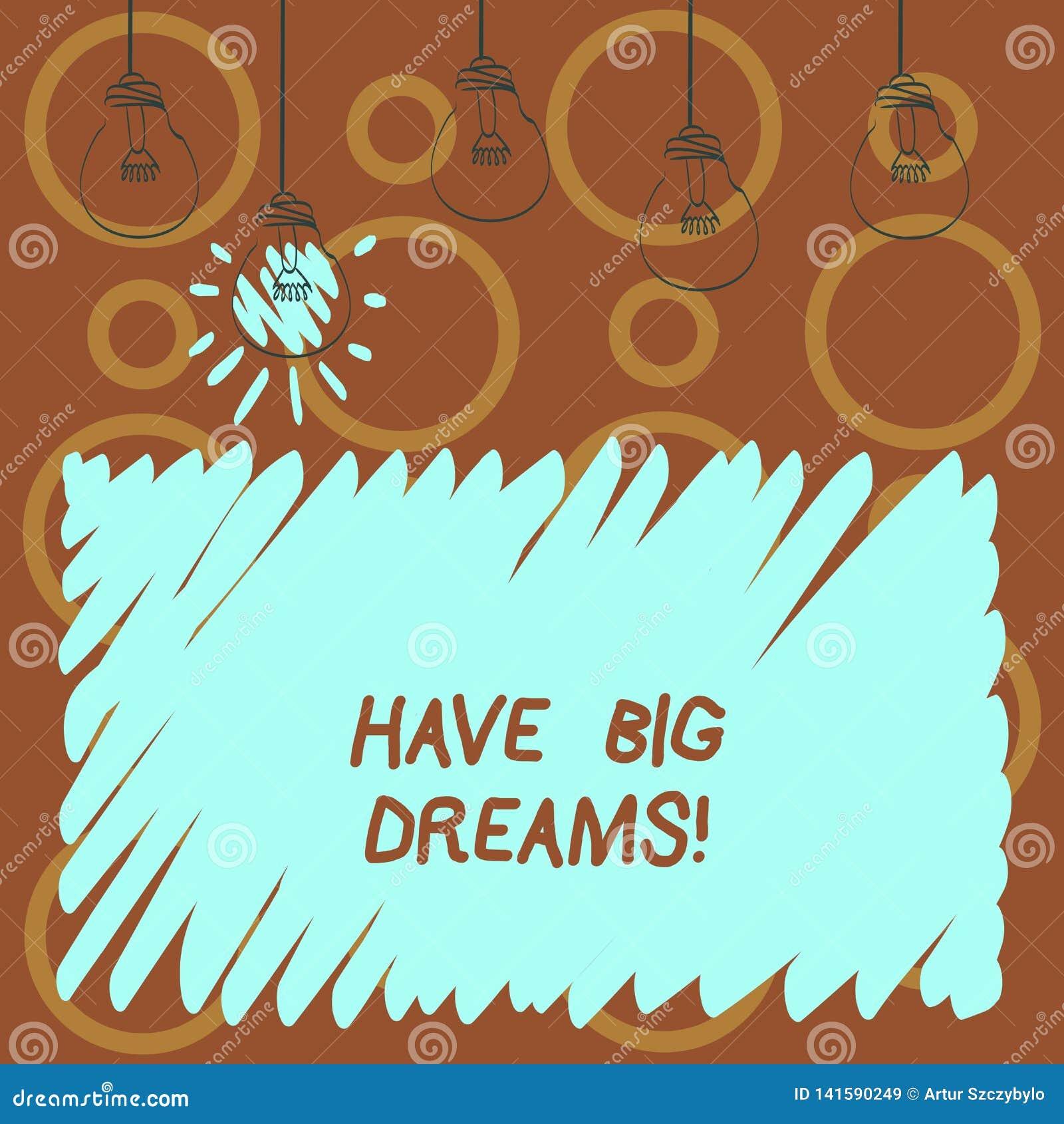 Textteckenvisningen har stora drömmar Framtida ambition Desire Motivation Goal för begreppsmässigt foto