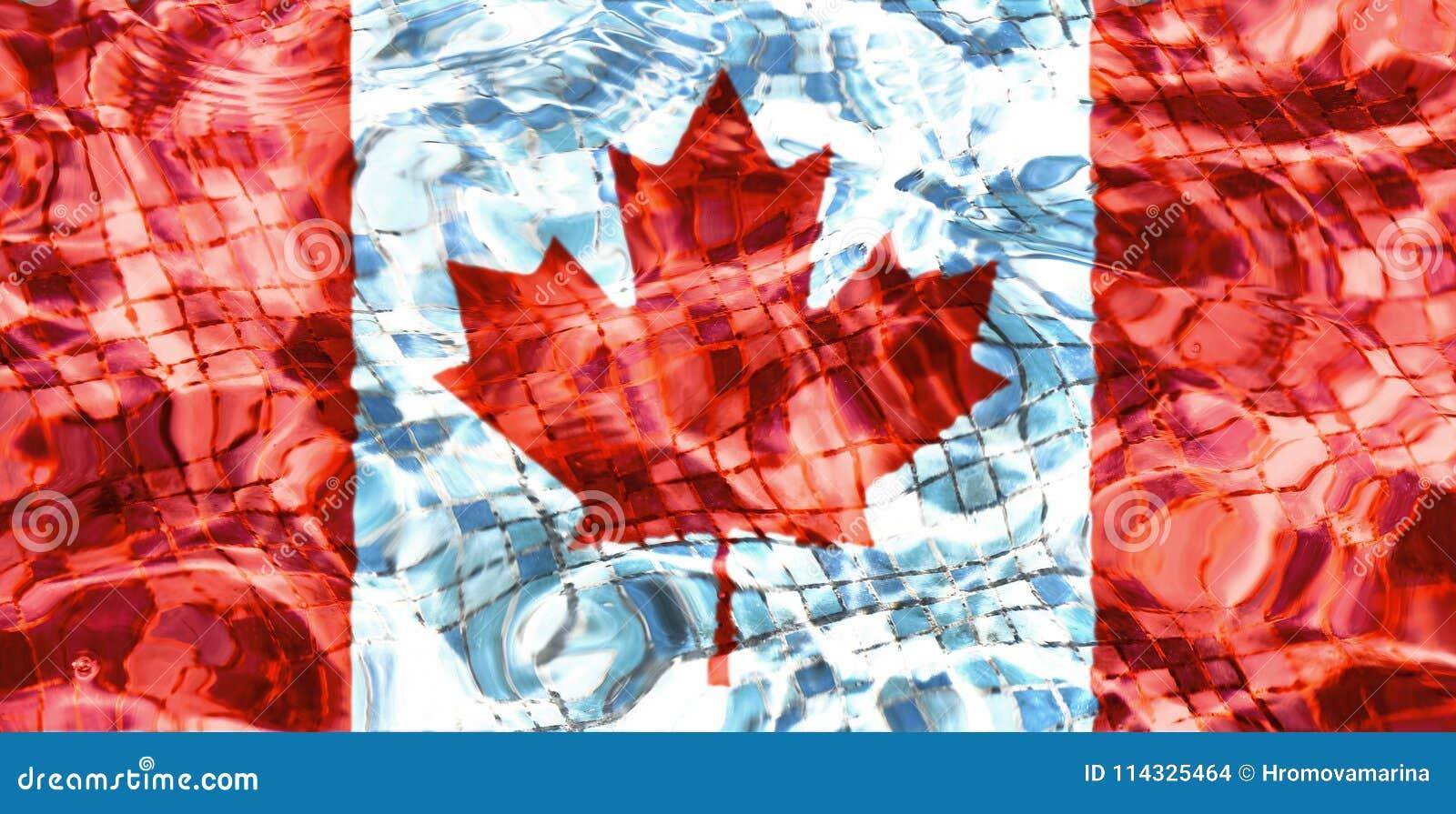Textur av den Kanada flaggan i pölen, vatten