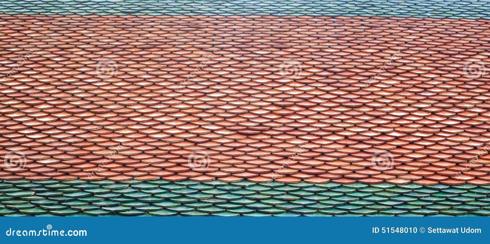 Textur av taktegelplattor av den thailändska templet