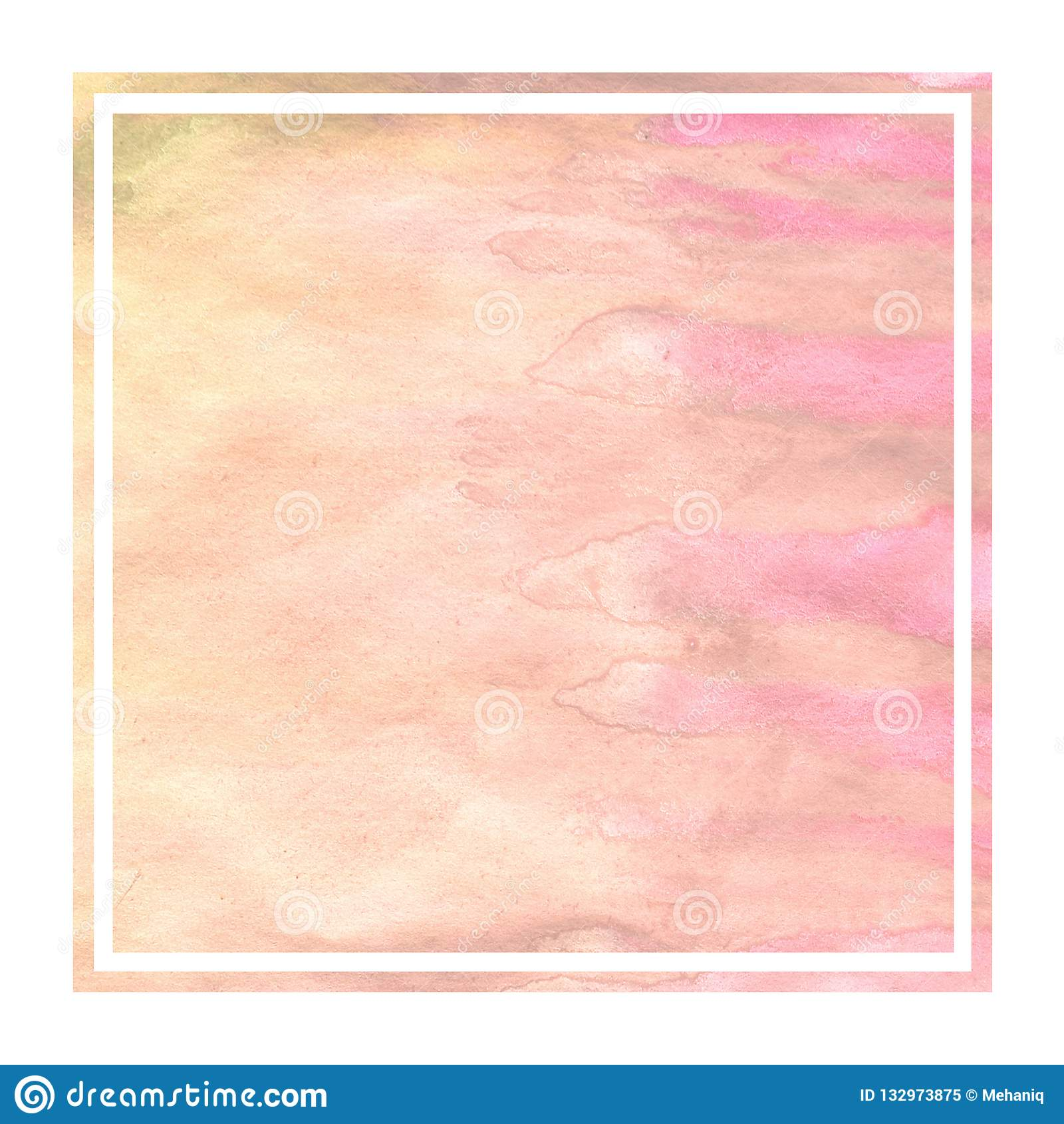 Textur för bakgrund för ram för varm gul vattenfärg för hand utdragen rektangulär med fläckar