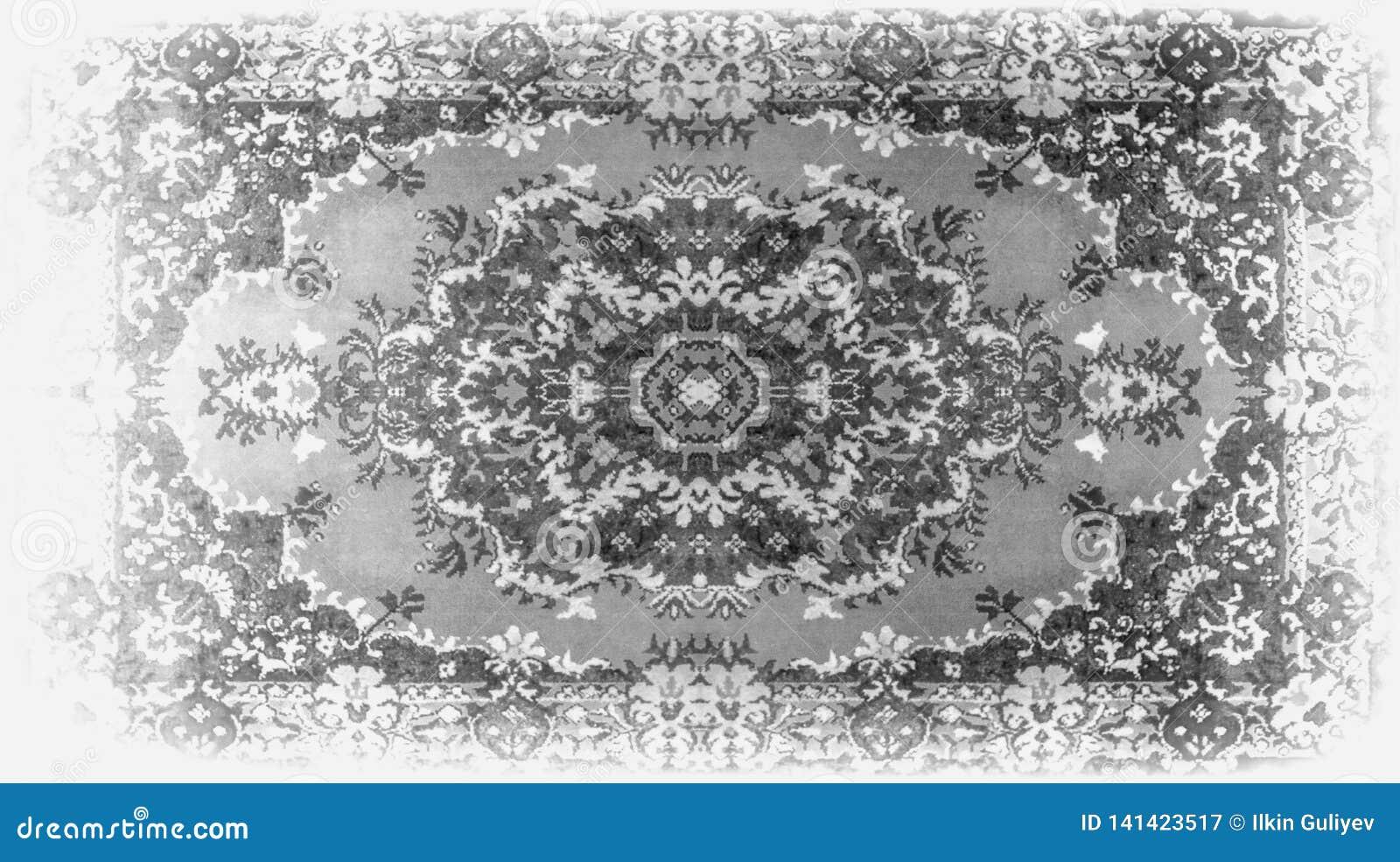 Textur för persisk matta, abstrakt prydnad Rund mandalamodell, mitt - östlig traditionell matttygtextur turkos