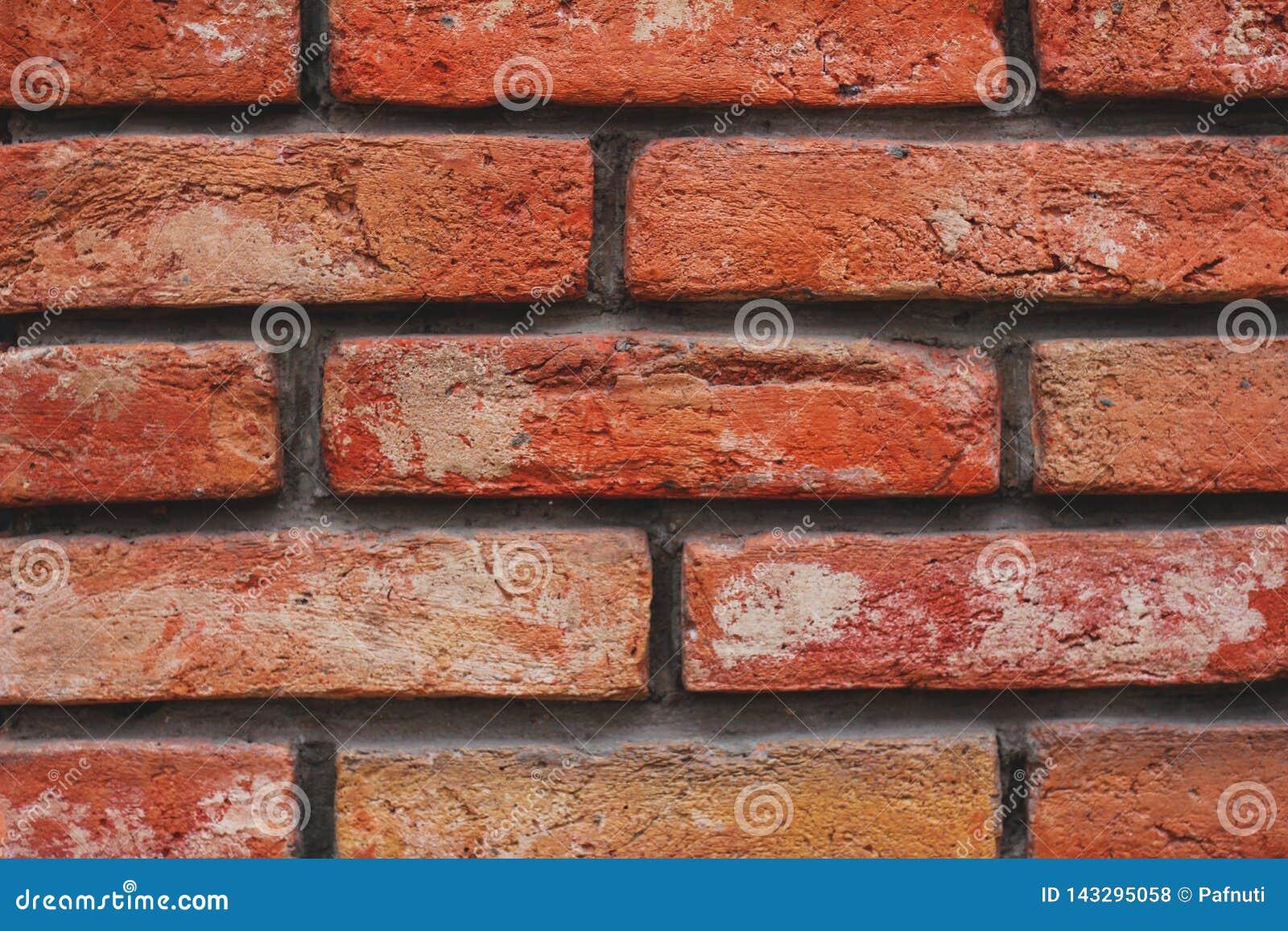 Textur för vägg för röd tegelsten för närbild