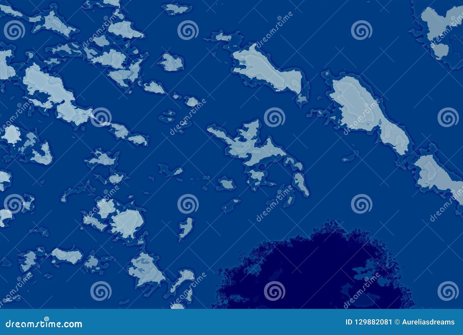 Textura abstracta blanca y azul del fondo Mapa de la fantasía con la línea de la playa del norte, mar, océano, hielo, montañas, n