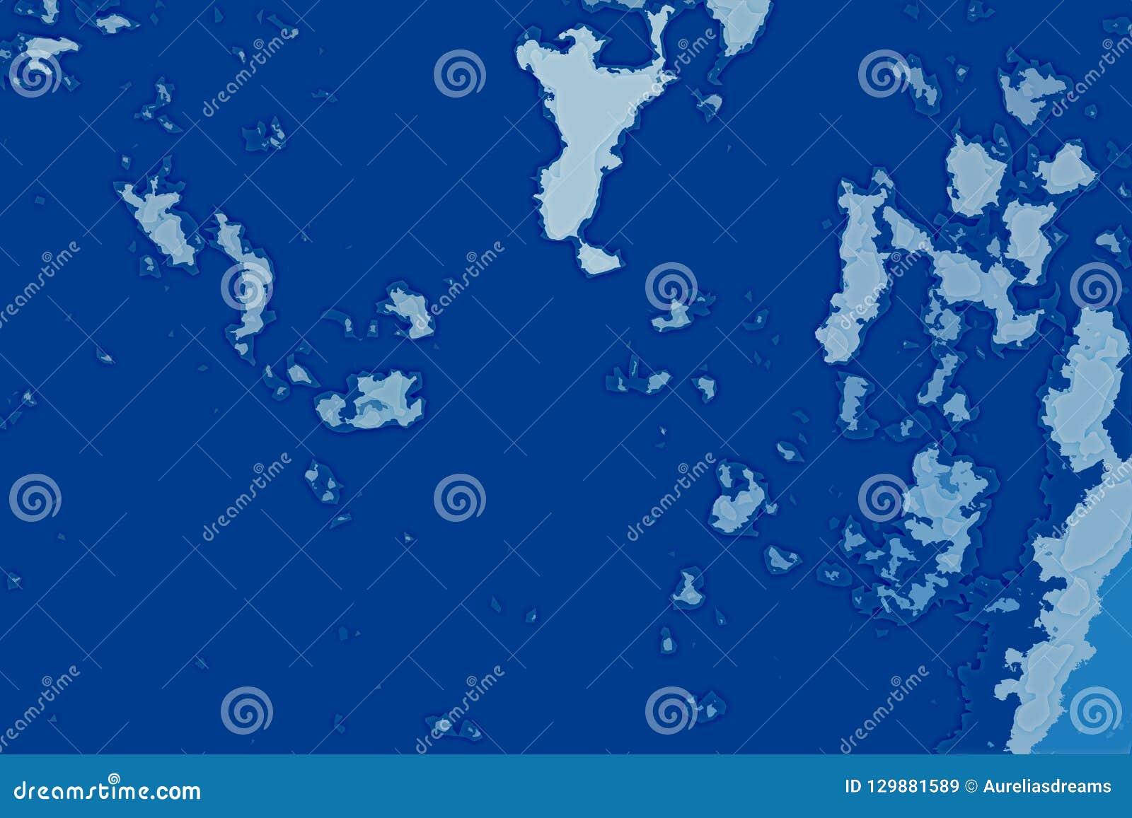 Textura abstrata branca e azul do fundo Mapa da fantasia com linha costeira norte, mar, oceano, gelo, montanhas, nuvens
