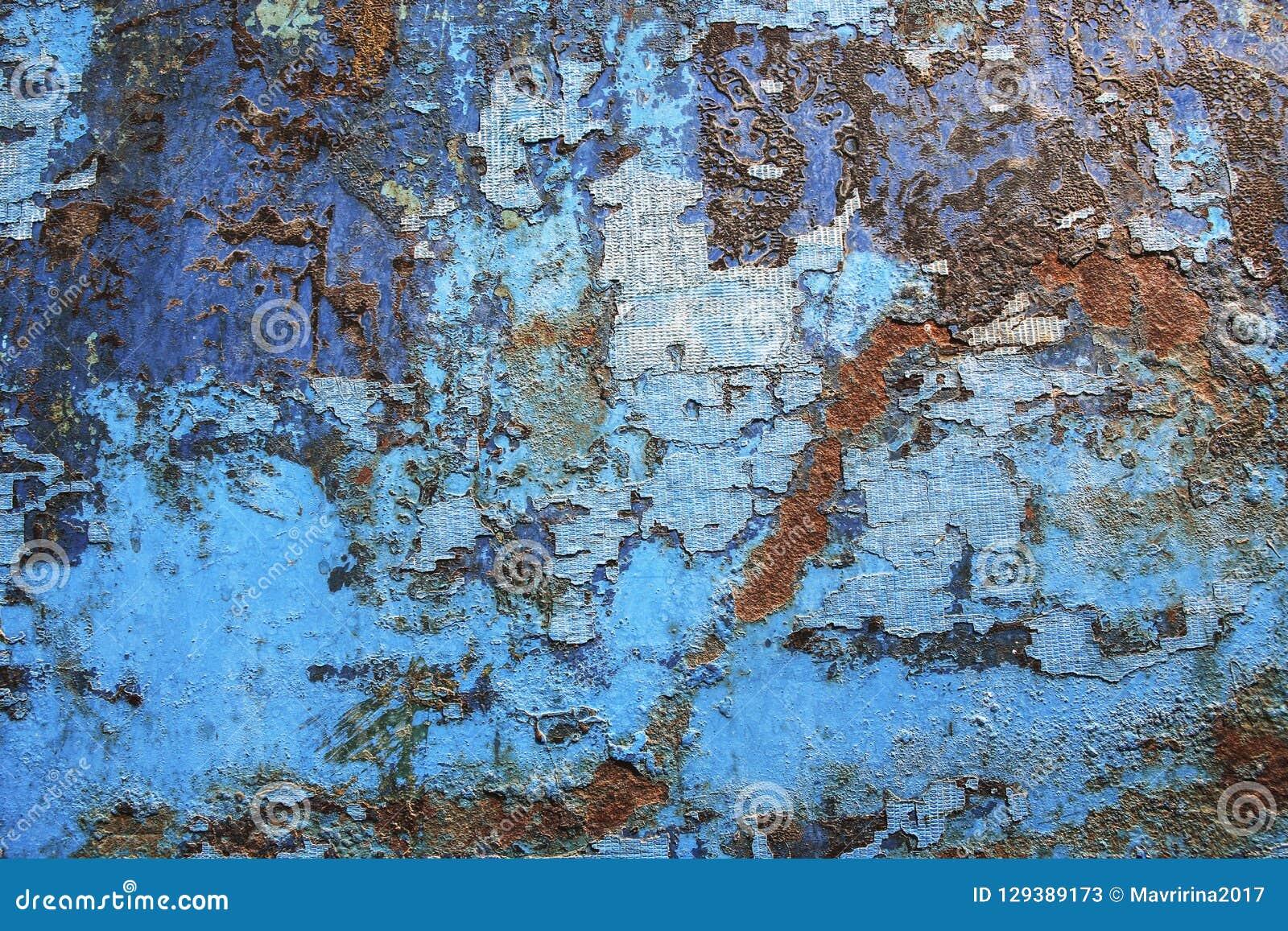 Textura azul del fondo del grunge del moho del metal Aherrumbrado, viejo, vintage,