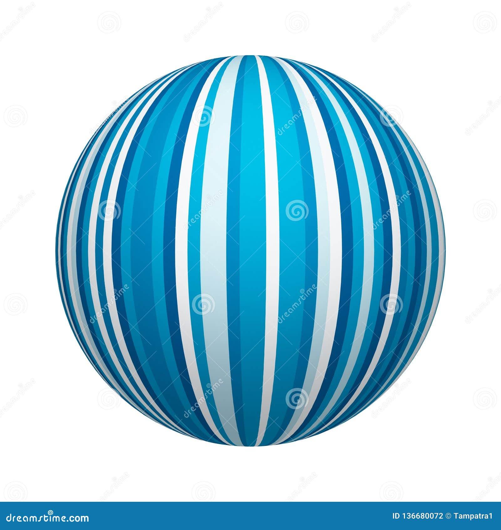 Textura azul y blanca del modelo rayado en la forma de la bola o de la esfera aislada en el fondo blanco Diseño ascendente de la