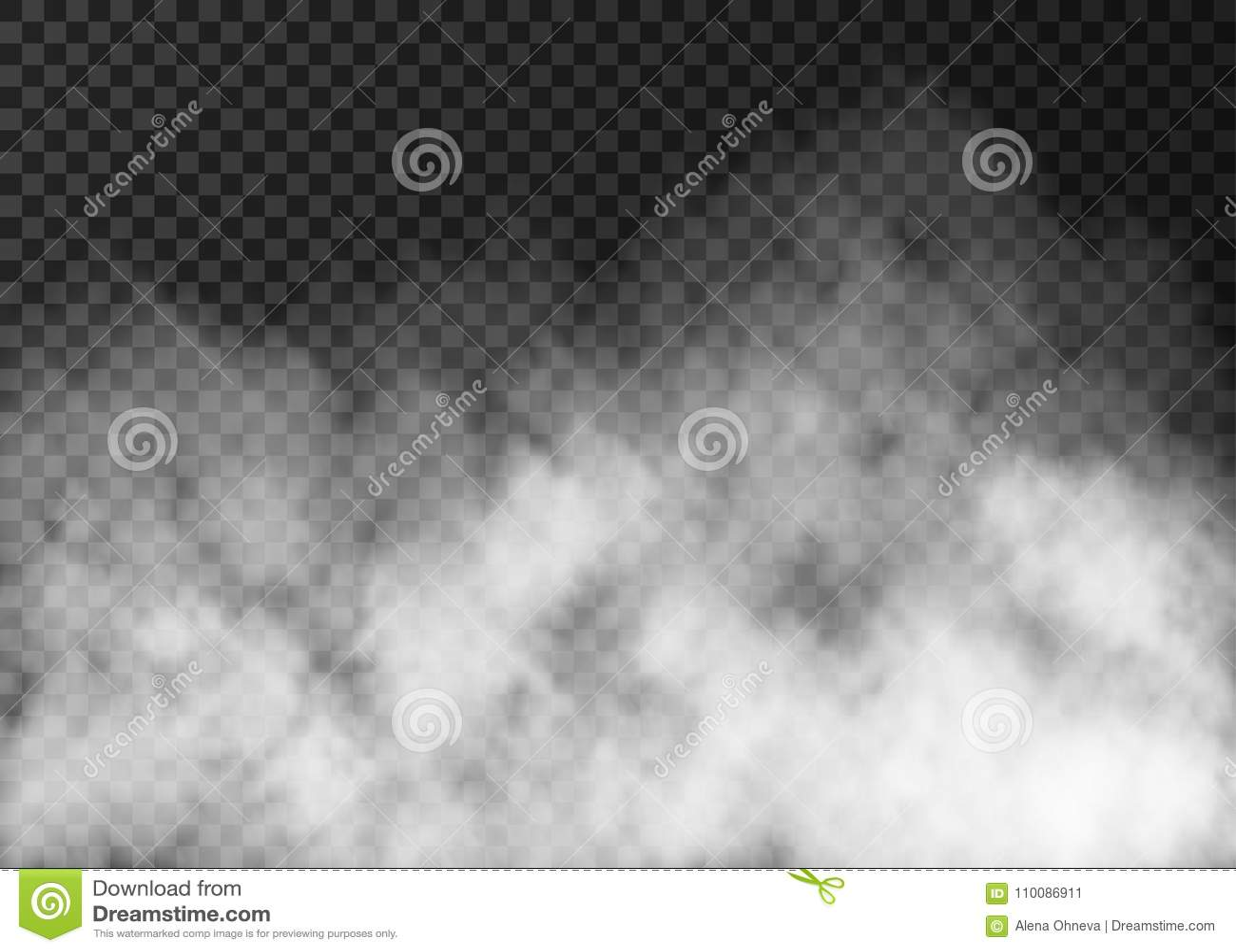 Textura blanca del humo en fondo transparente