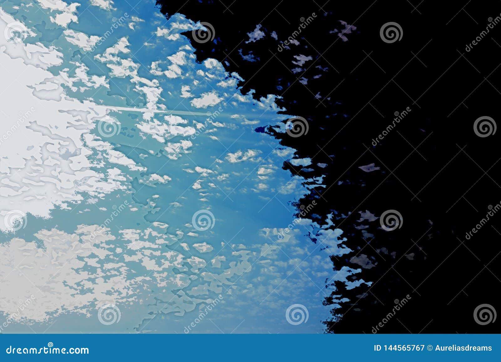 Textura blanca y azul del fondo Mapa abstracto con la línea de la playa del norte, mar, océano, hielo, montañas, nubes