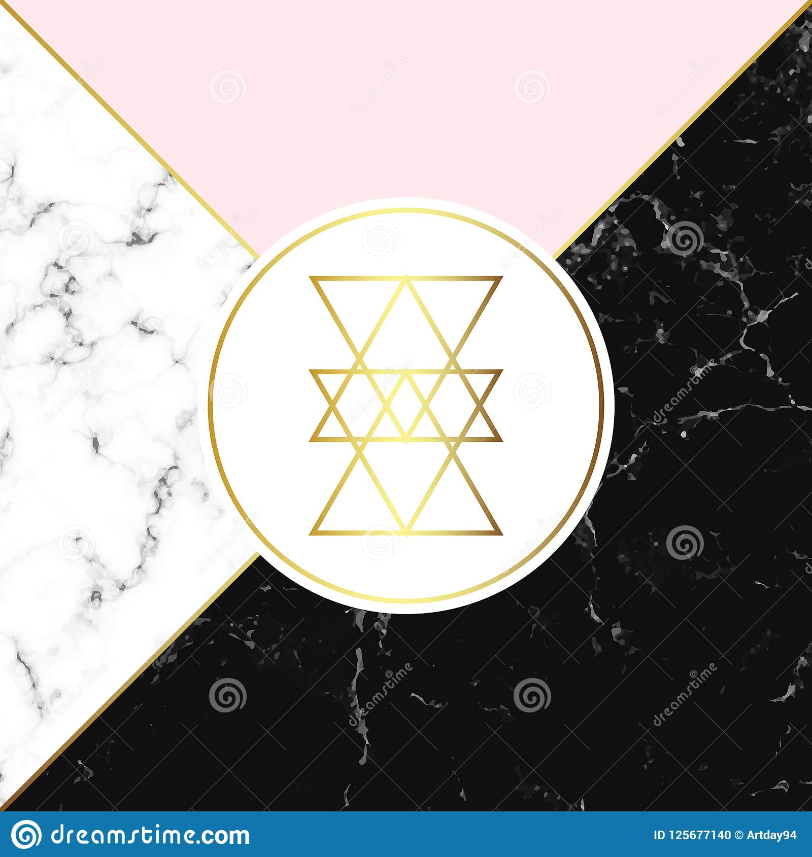 Textura blanca y negra del mármol o de la piedra y fondo rosado Cartel geométrico de moda Tarjeta abstracta moderna Plantilla par