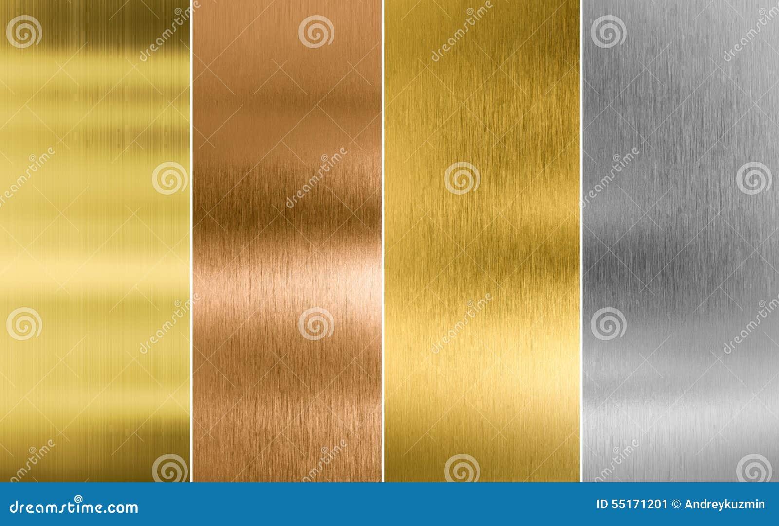 Textura cosida del metal de la plata, del oro y del bronce