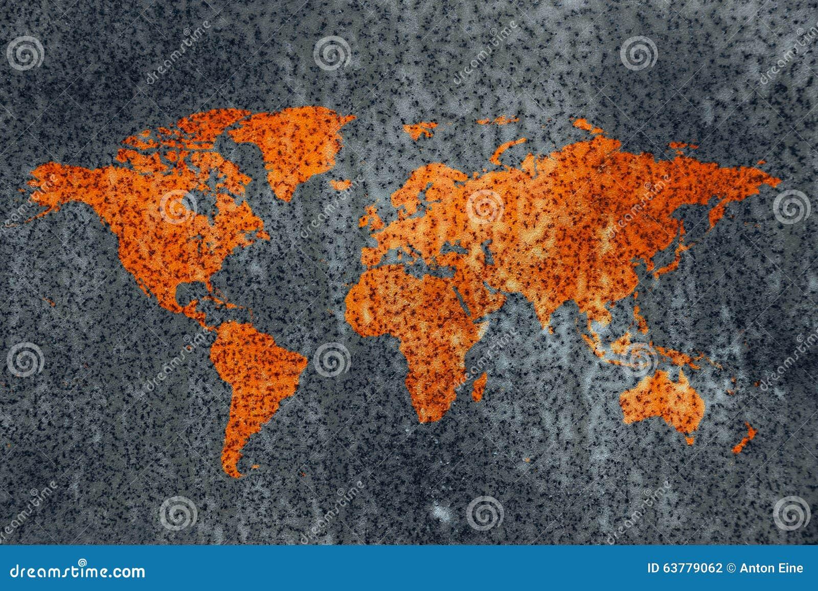 Textura da corrosão do mapa do metal da deterioração do mundo