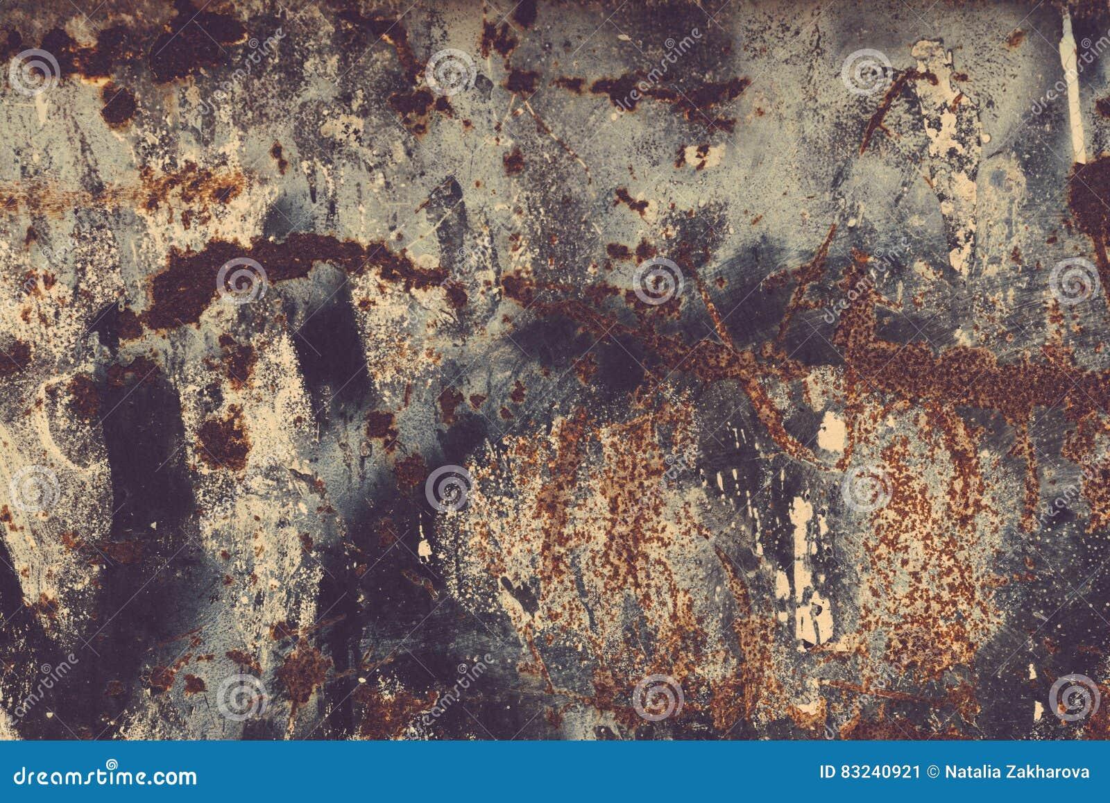 Textura da oxidação Backgr textured metal riscado velho oxidado colorido