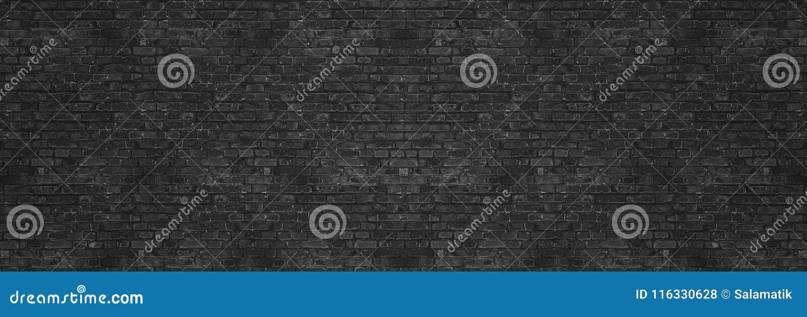 Textura da parede de tijolo da lavagem do preto do vintage para o projeto Fundo panorâmico para sua texto ou imagem