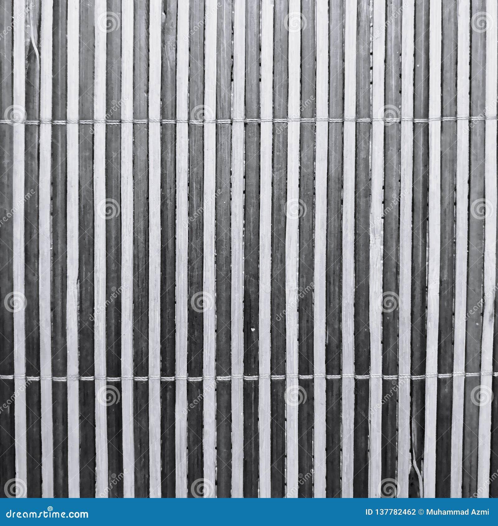 Textura das listras de uma esteira de bambu