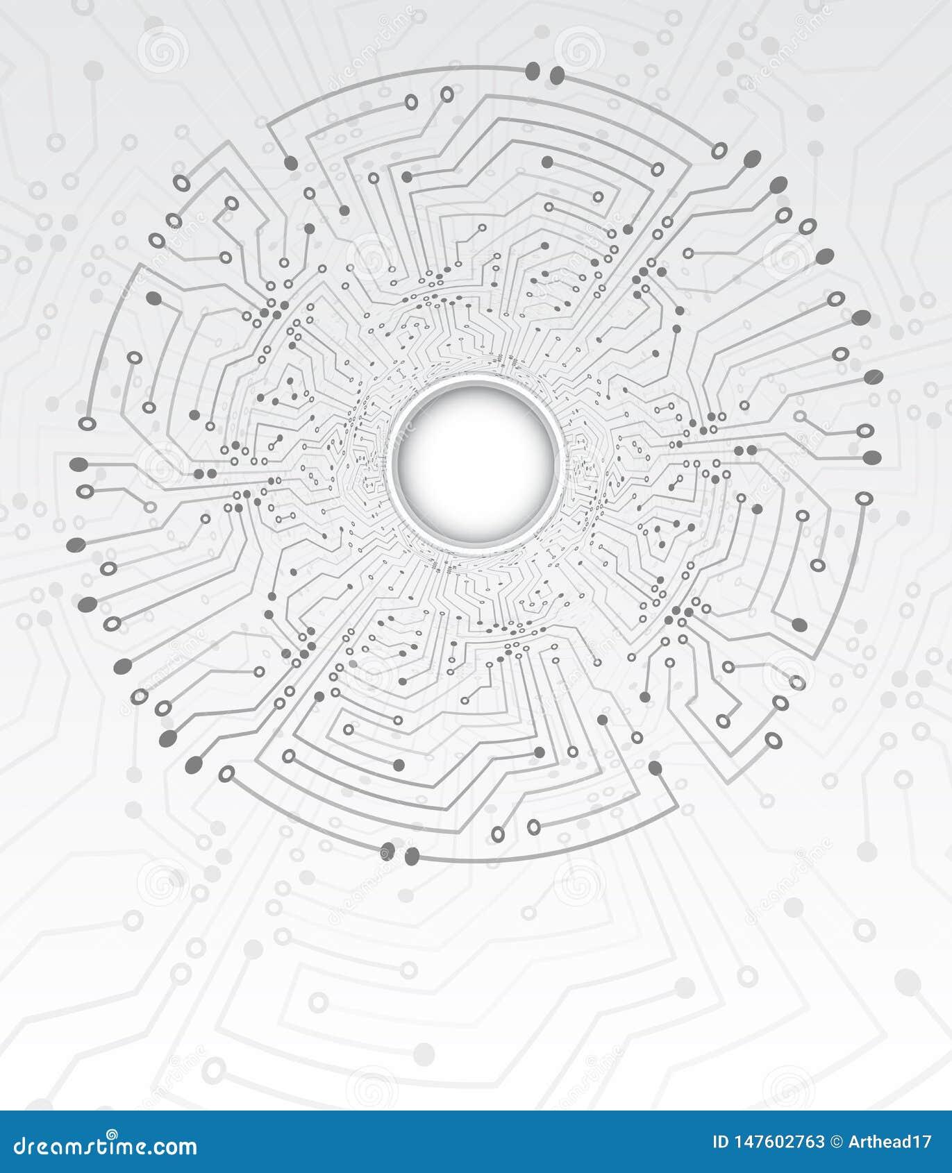 Textura de alta tecnología del fondo del túnel de la tecnología Ejemplo del vector de la placa de circuito del c?rculo