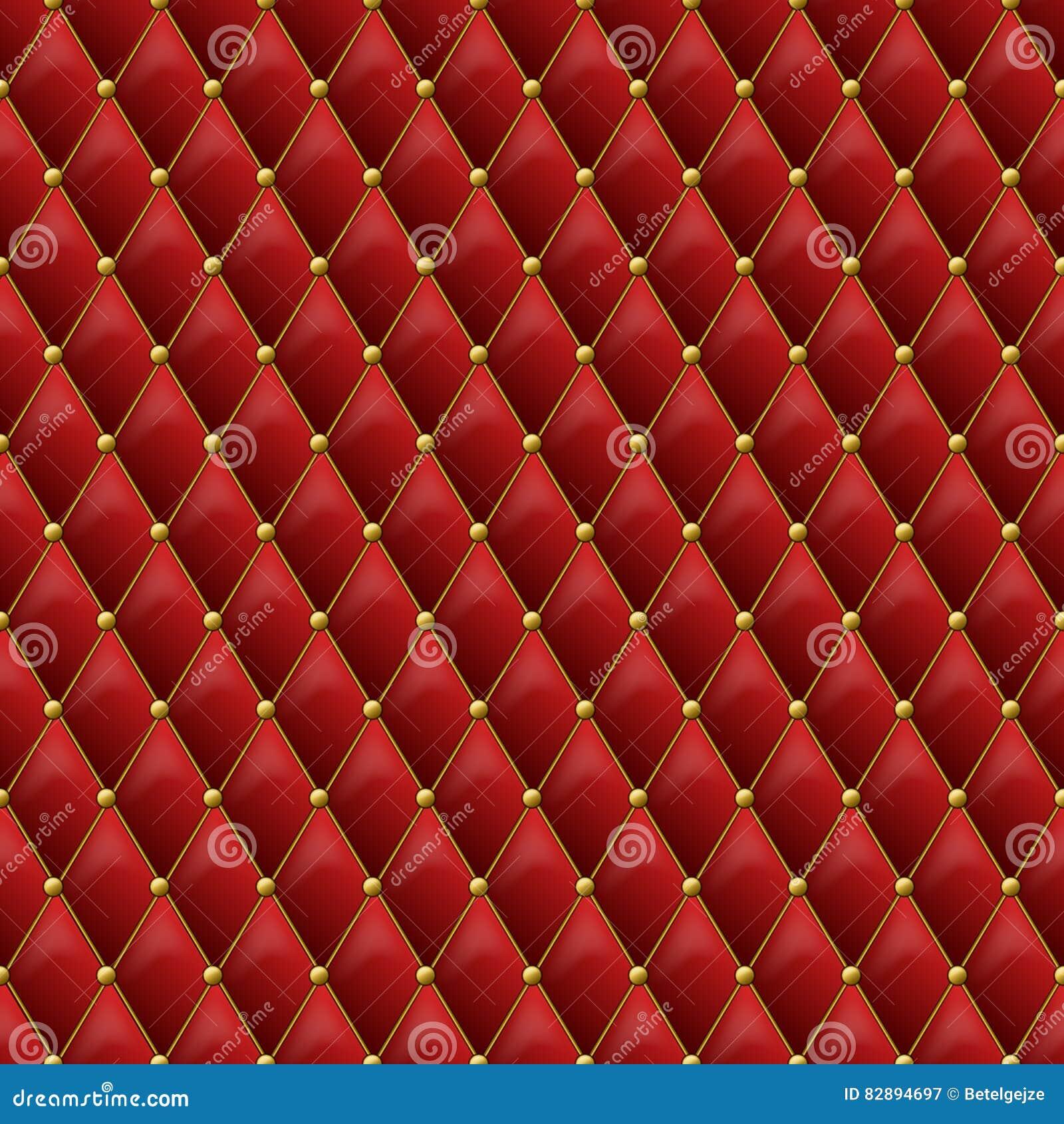 Textura de couro vermelha sem emenda com detalhes do metal do ouro Pasto do vetor